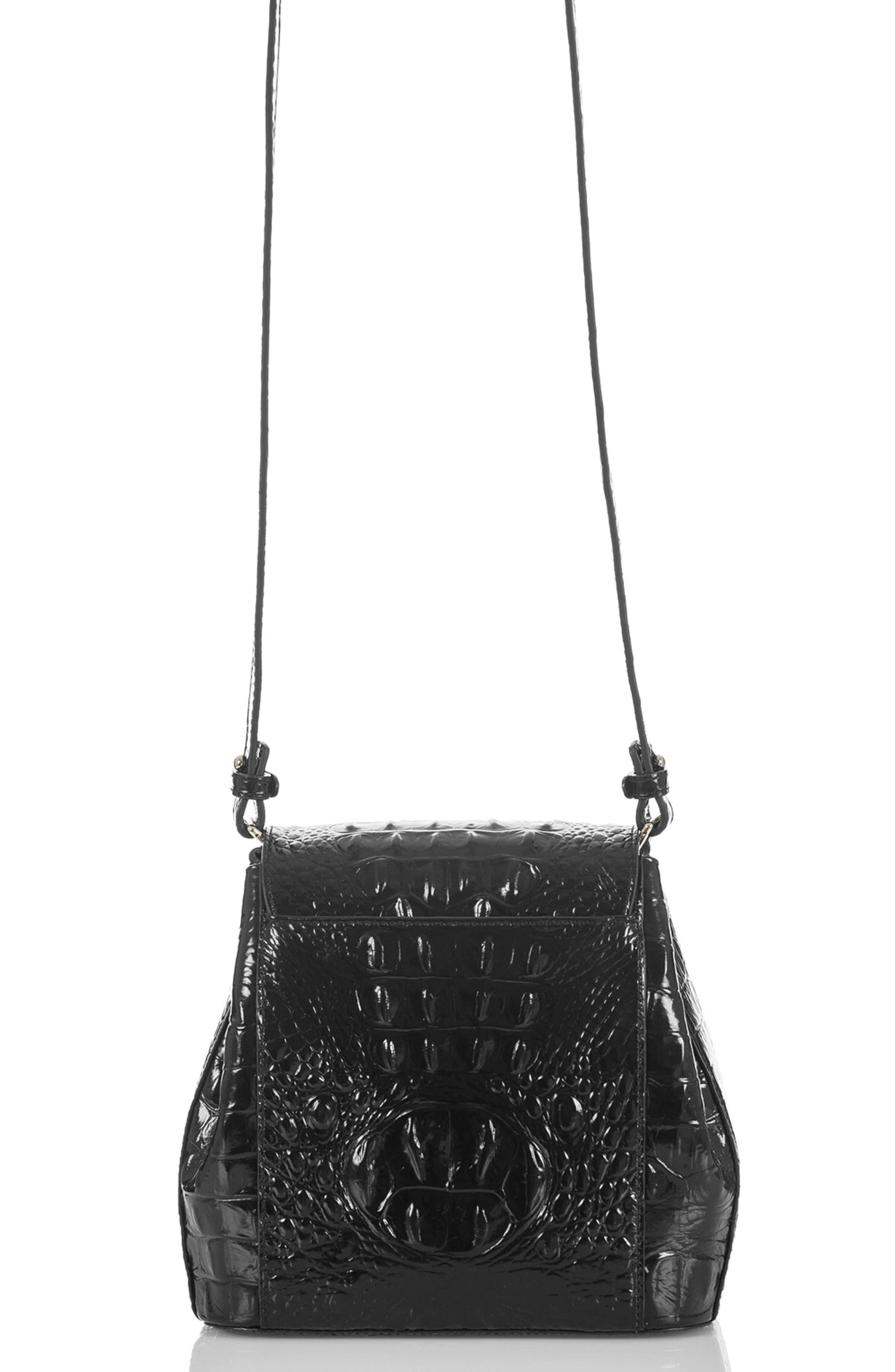 Margo Croc Embossed Leather Crossbody Bag,                             Alternate thumbnail 2, color,                             BLACK