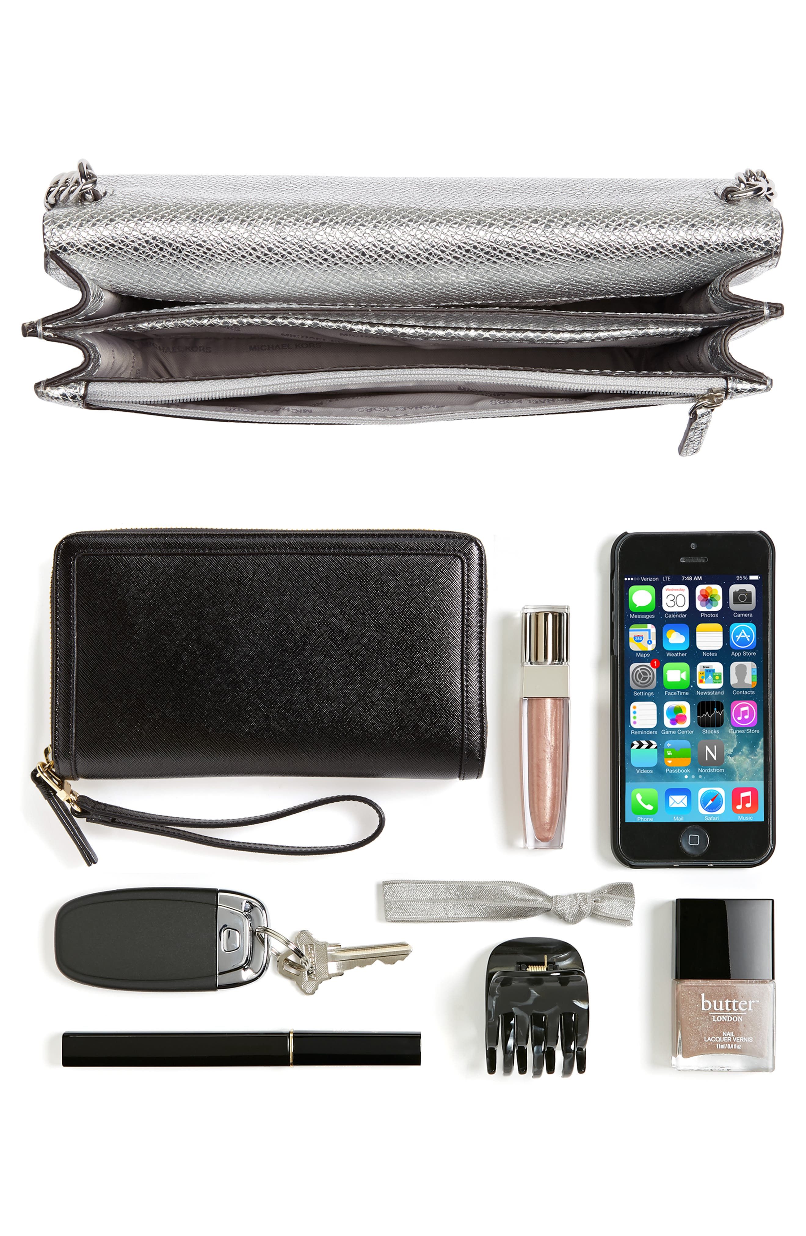 MICHAEL Michael Kors Large Metallic Leather Crossbody Bag,                             Alternate thumbnail 7, color,                             040