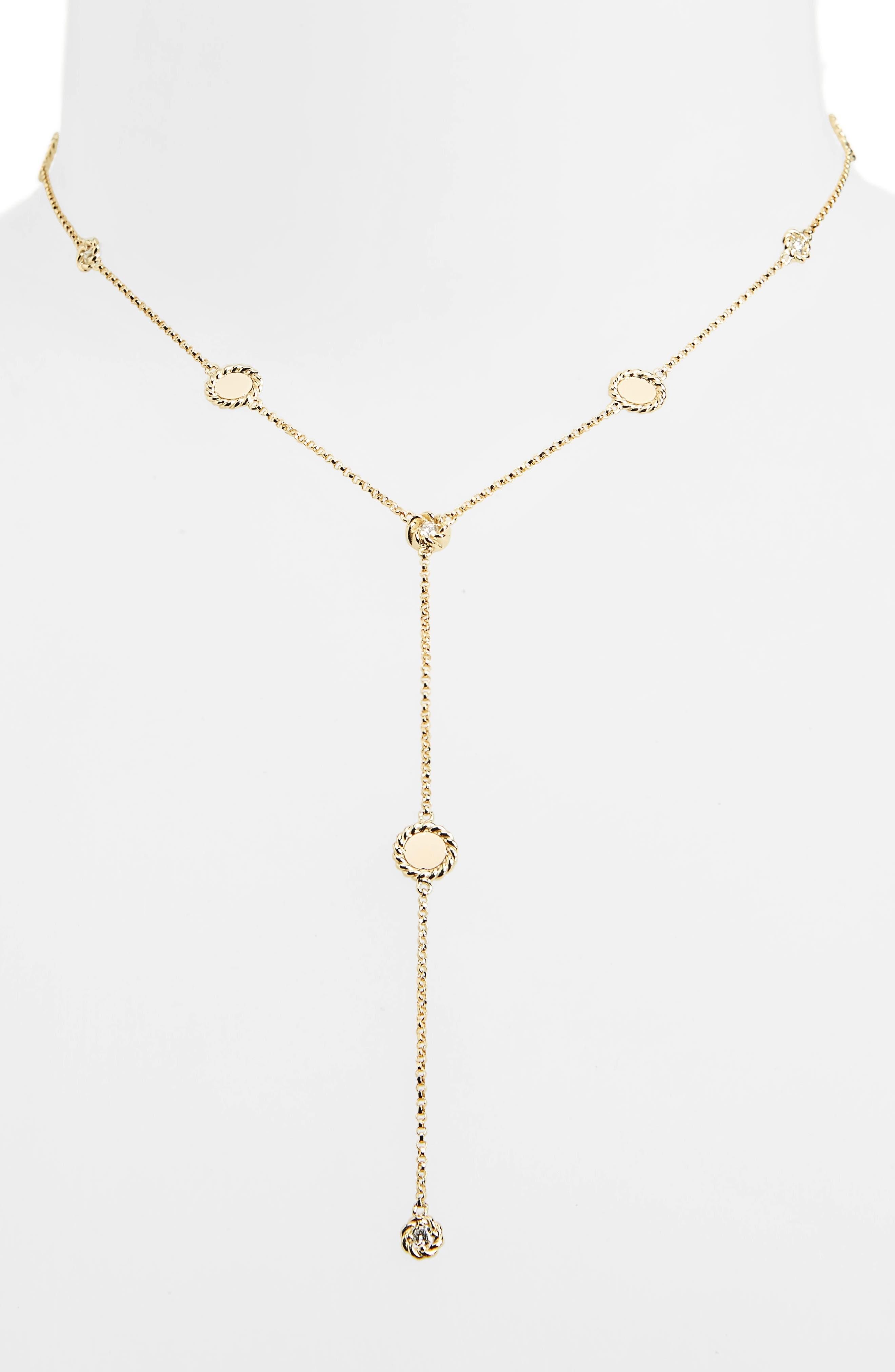 New Barocco Diamond Y-Necklace,                             Alternate thumbnail 2, color,                             D0.24 GHS1 18KYG