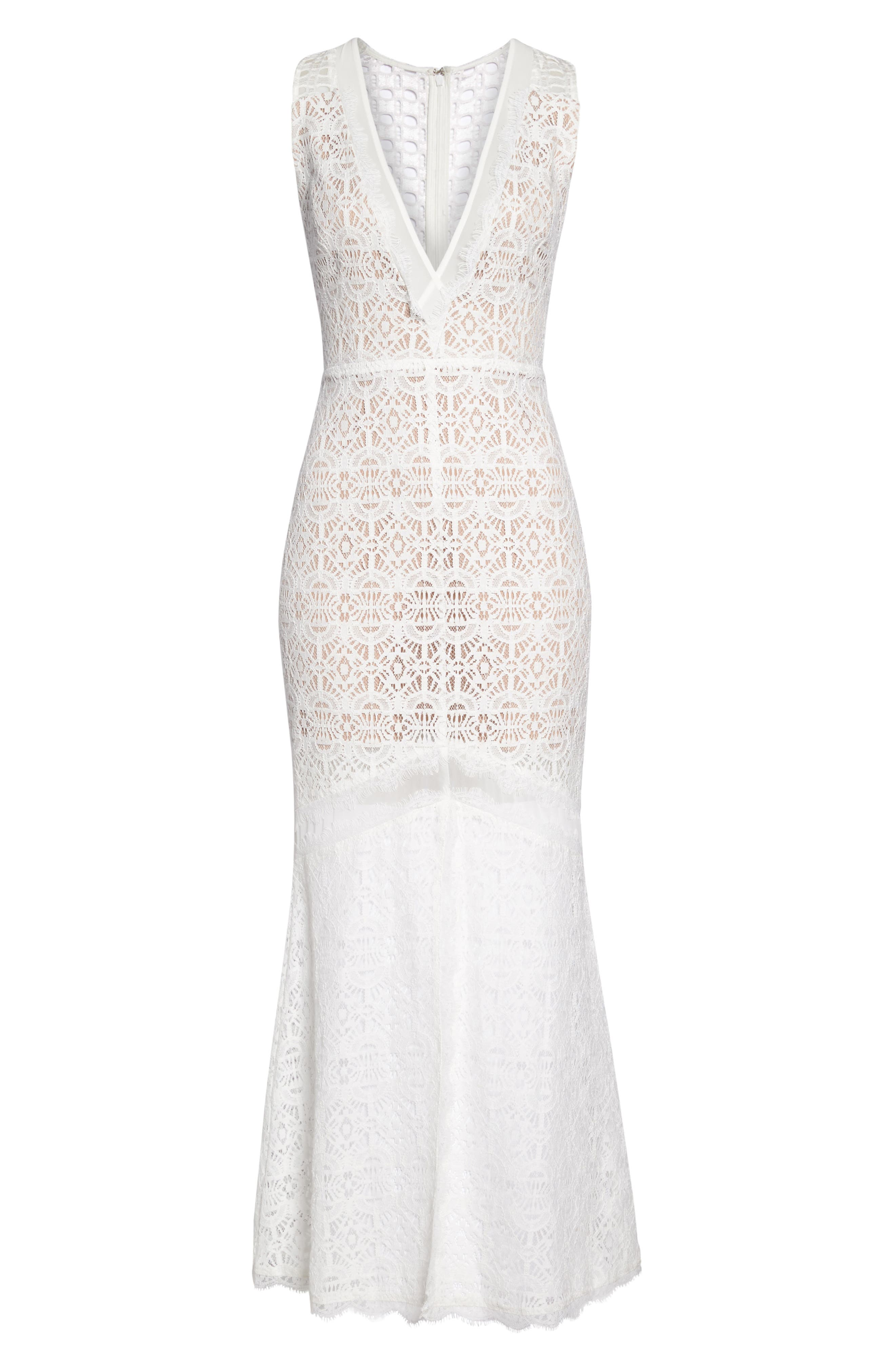 HARLYN,                             V-Neck Lace Trumpet Gown,                             Alternate thumbnail 6, color,                             900