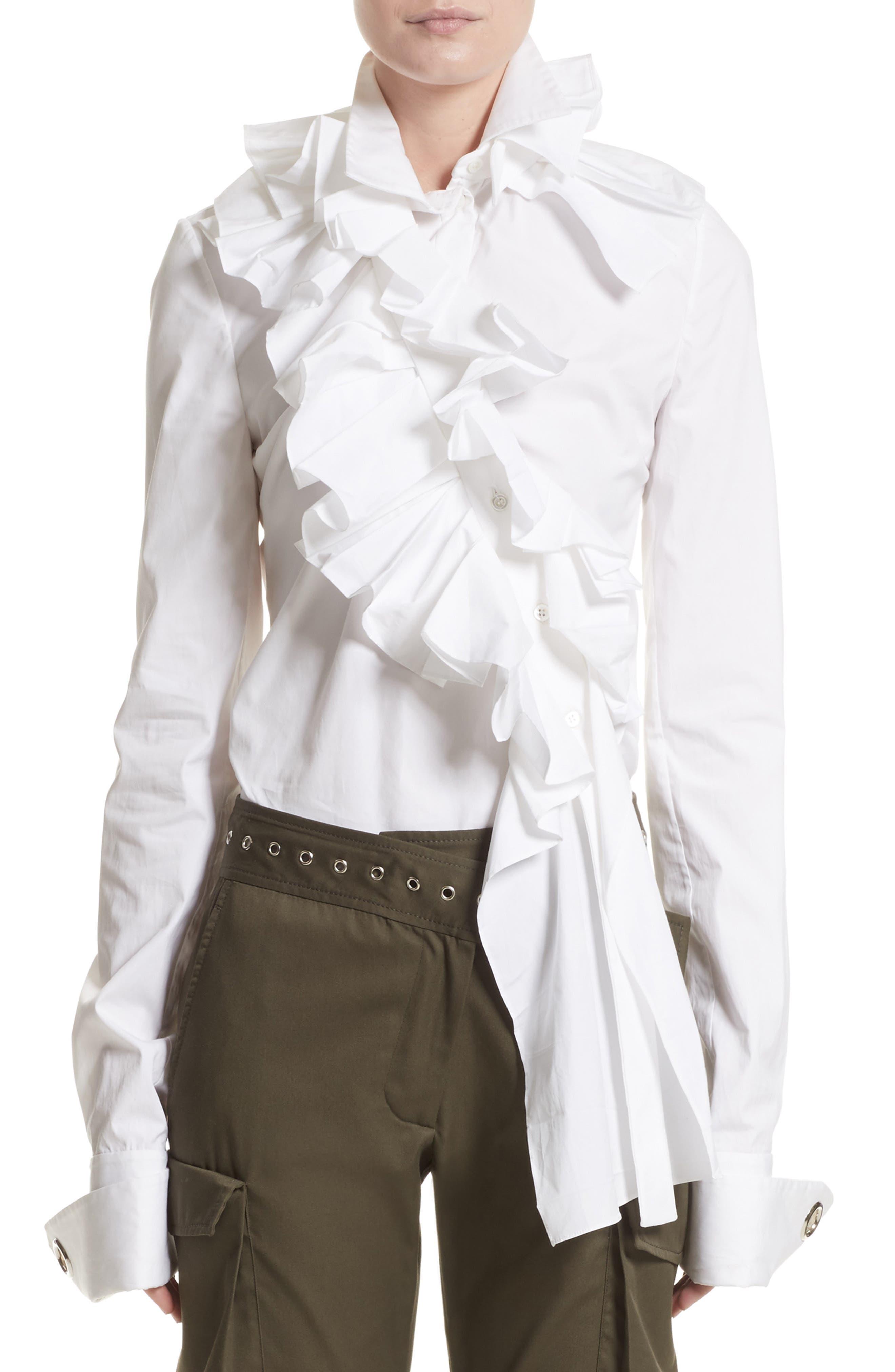 Ruffle Stretch Cotton Blouse,                             Main thumbnail 1, color,                             100
