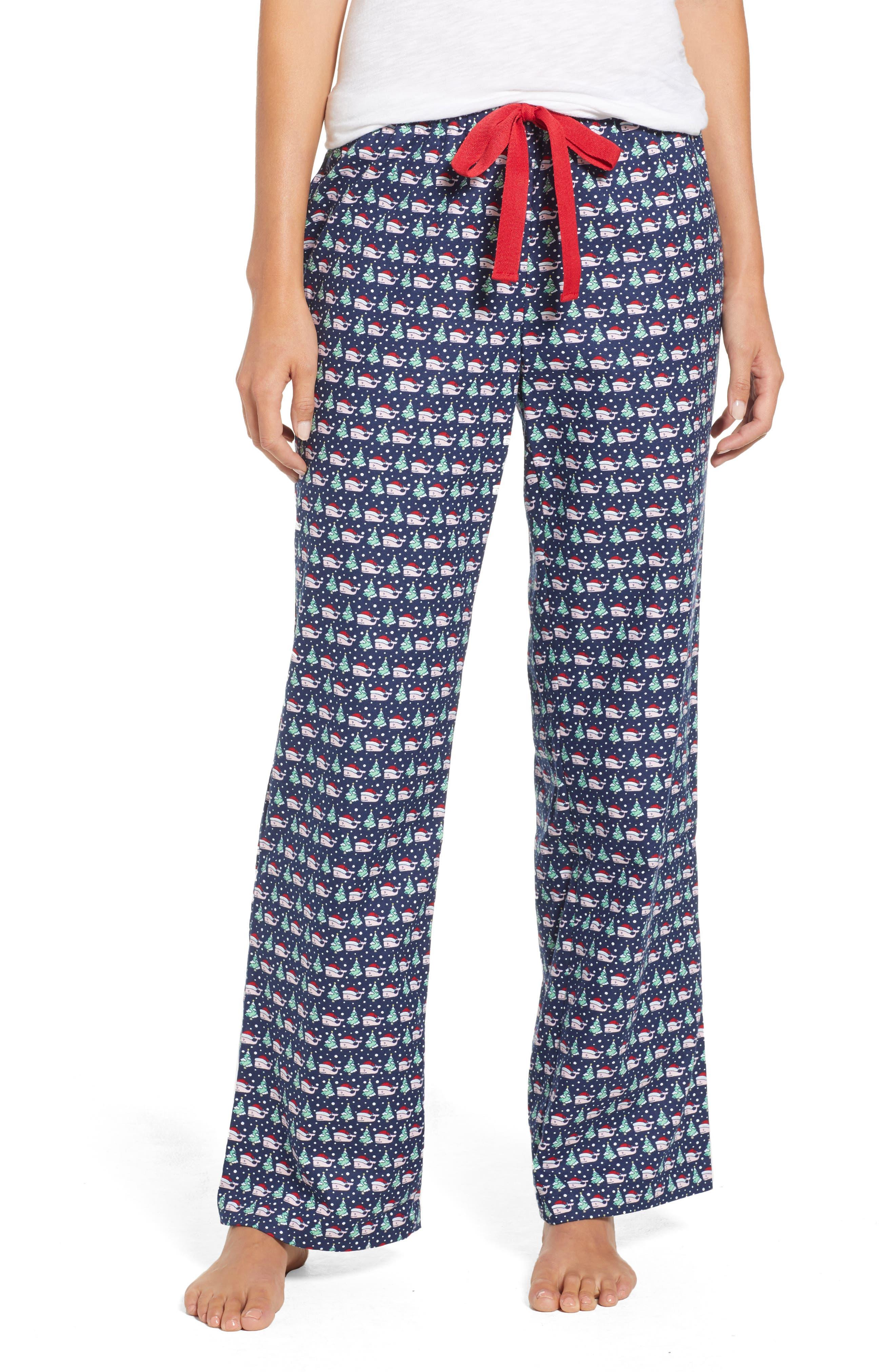 Santa Whale Lounge Pants,                             Main thumbnail 1, color,                             DEEP BAY
