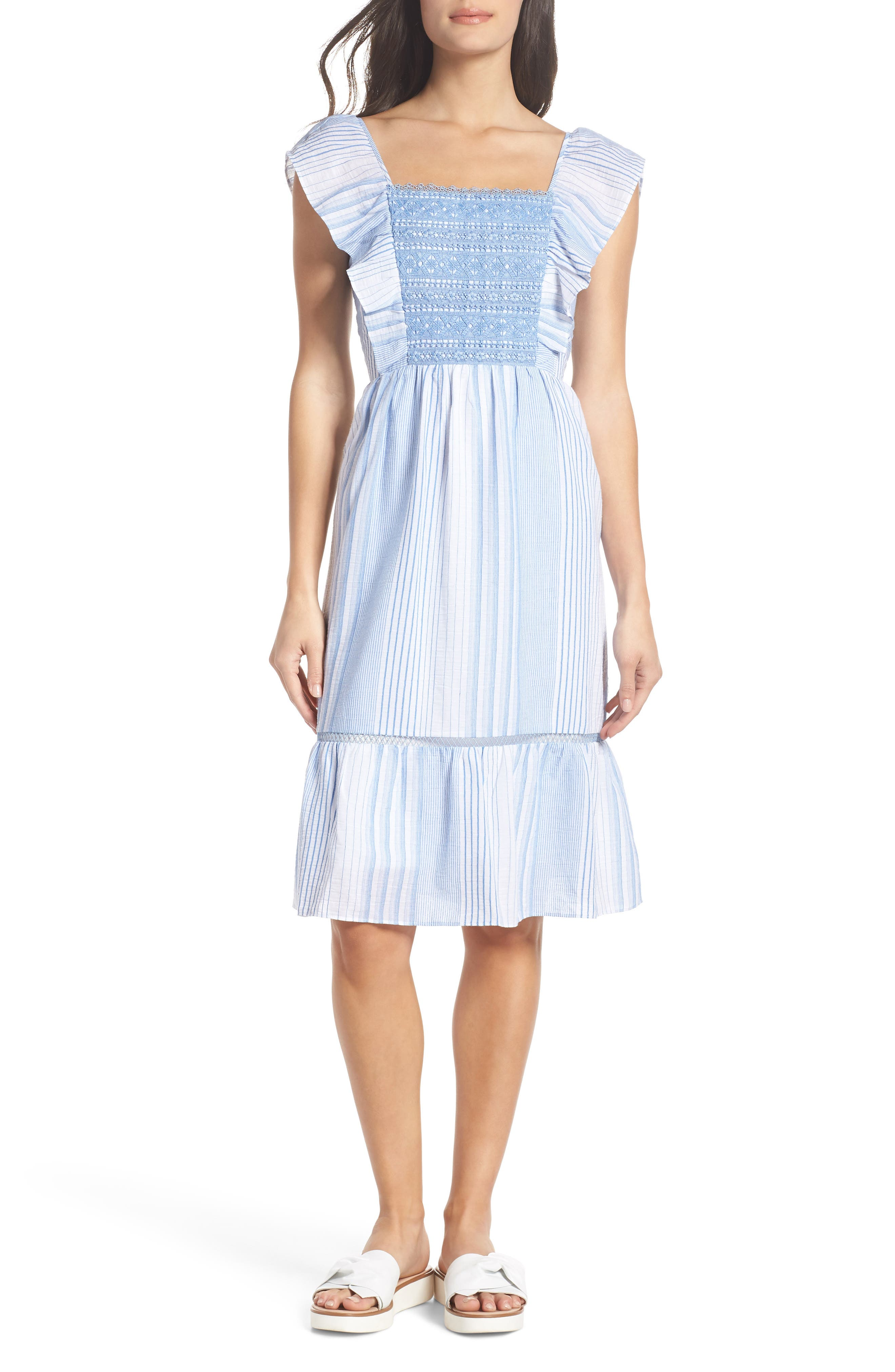Spencer Stripe Ruffle & Lace Sundress,                             Main thumbnail 1, color,                             400