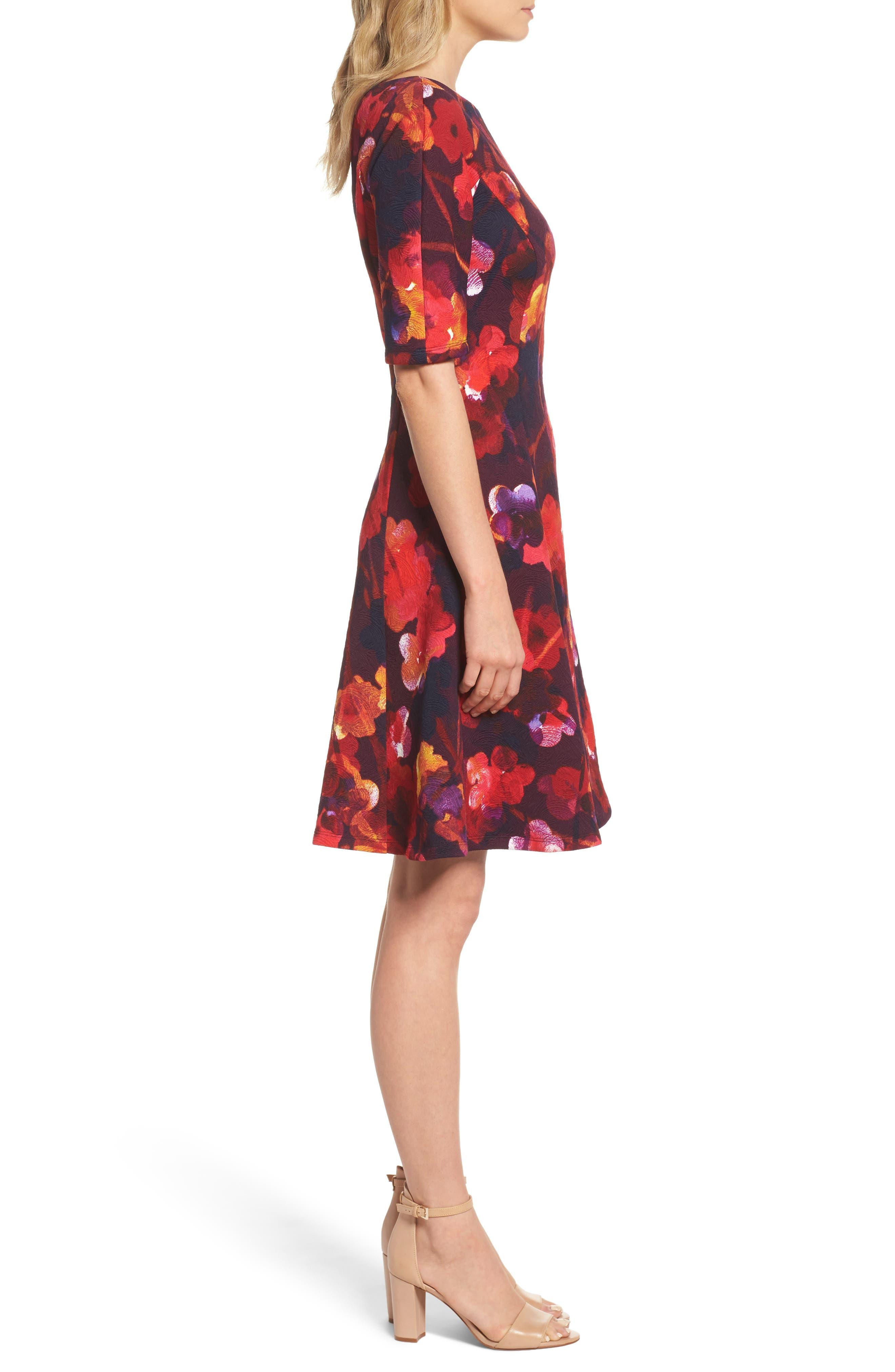 Fit & Flare Dress,                             Alternate thumbnail 3, color,                             646
