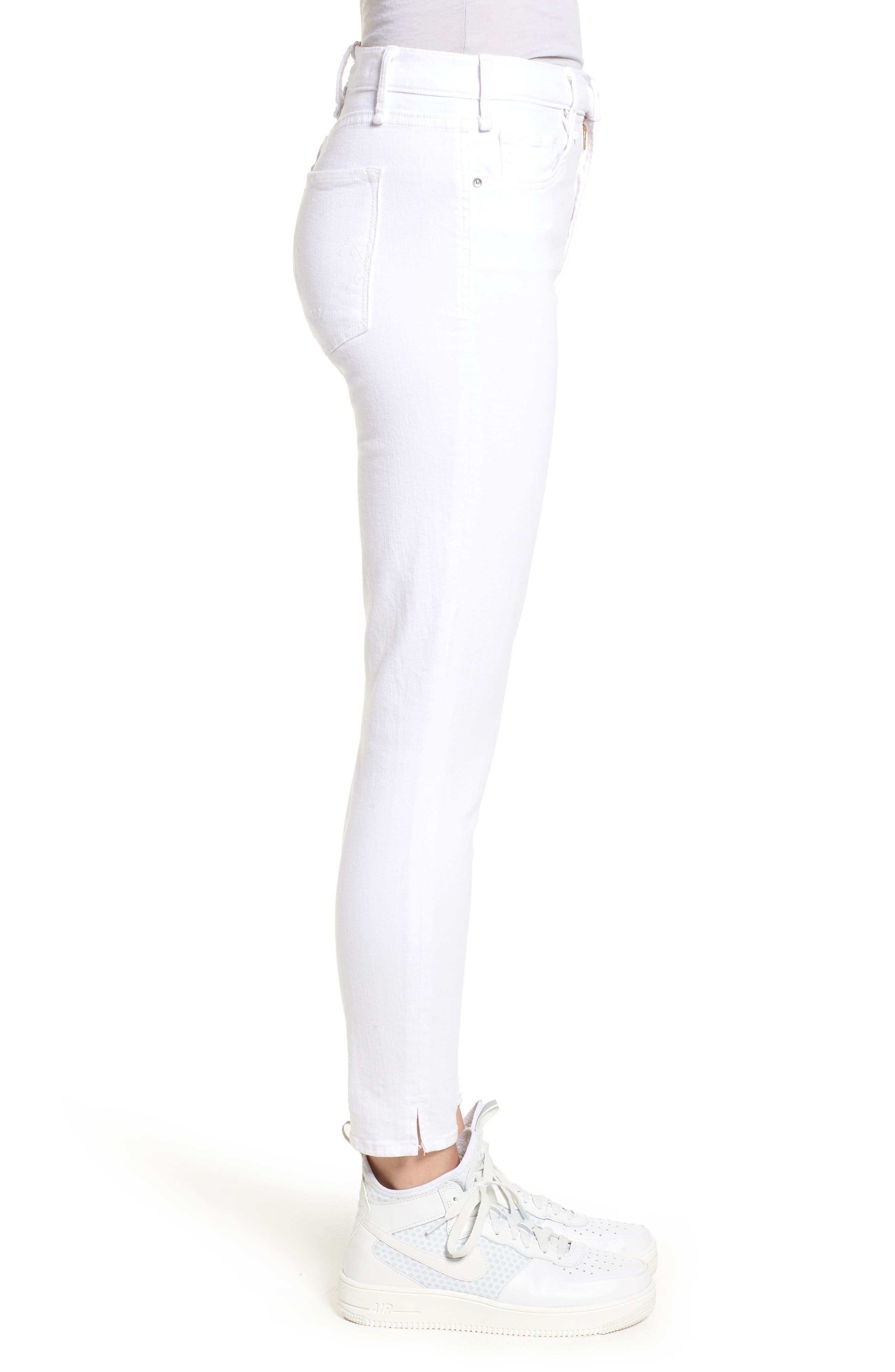 Split Hem High Waist Ankle Skinny Jeans,                             Alternate thumbnail 3, color,                             100