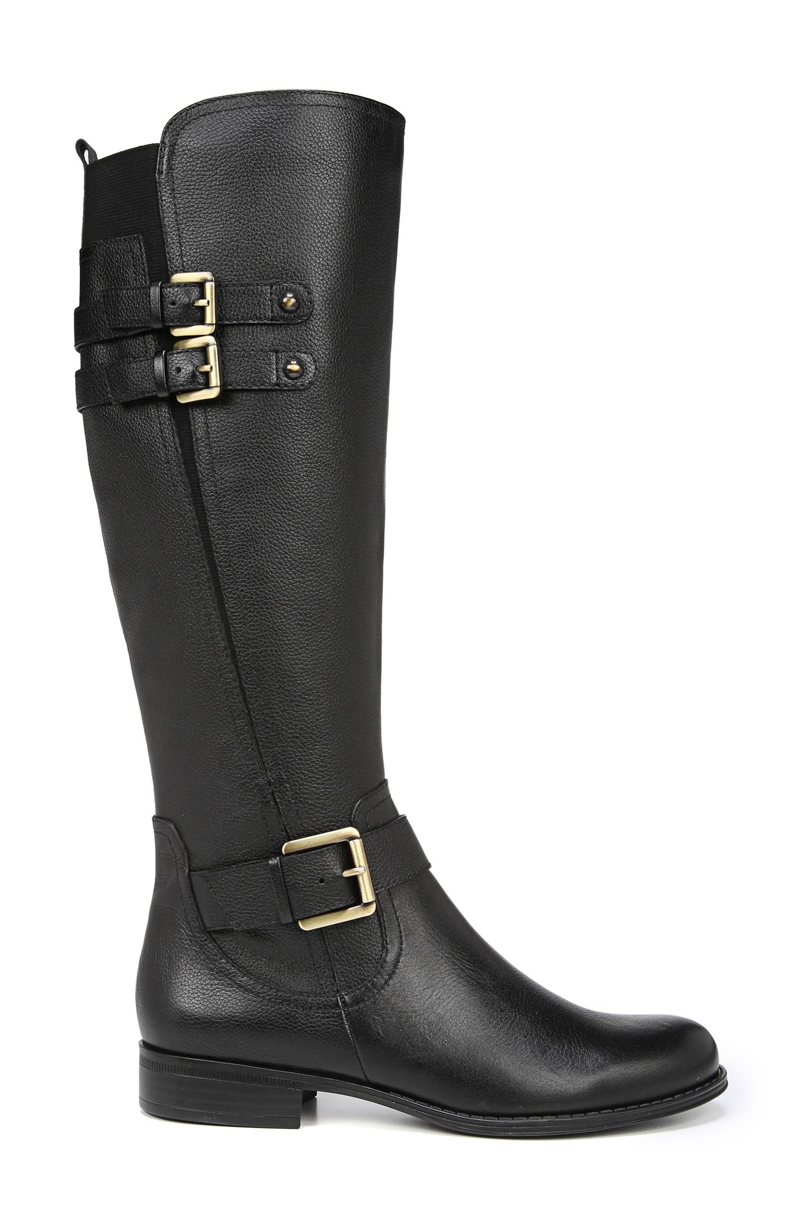 Jessie Knee High Riding Boot,                             Alternate thumbnail 3, color,                             BLACK LEATHER