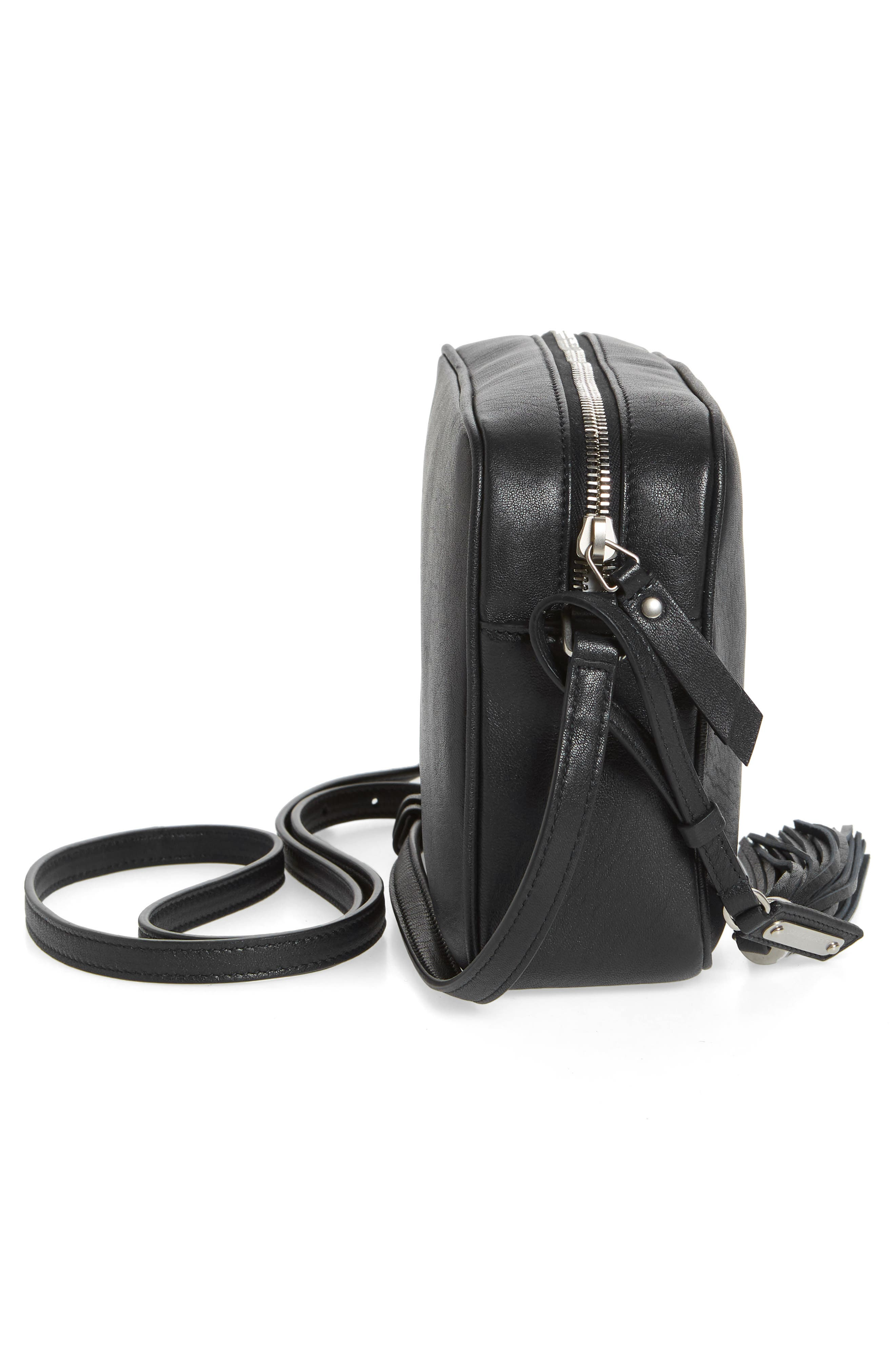 Small Mono Leather Camera Bag,                             Alternate thumbnail 4, color,                             NERO