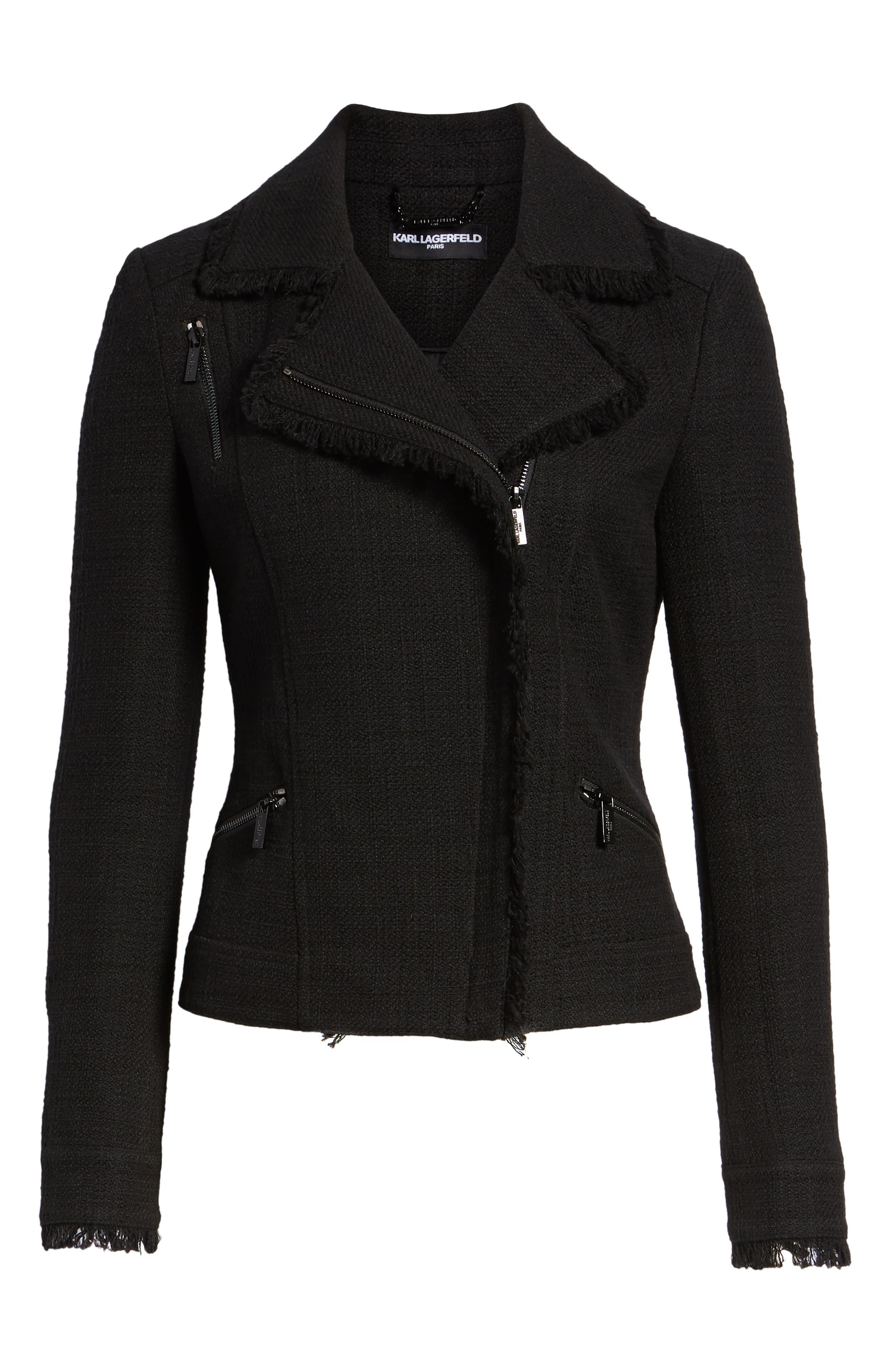 KARL LAGERFELD PARIS,                             Tweed Moto Jacket,                             Alternate thumbnail 6, color,                             001