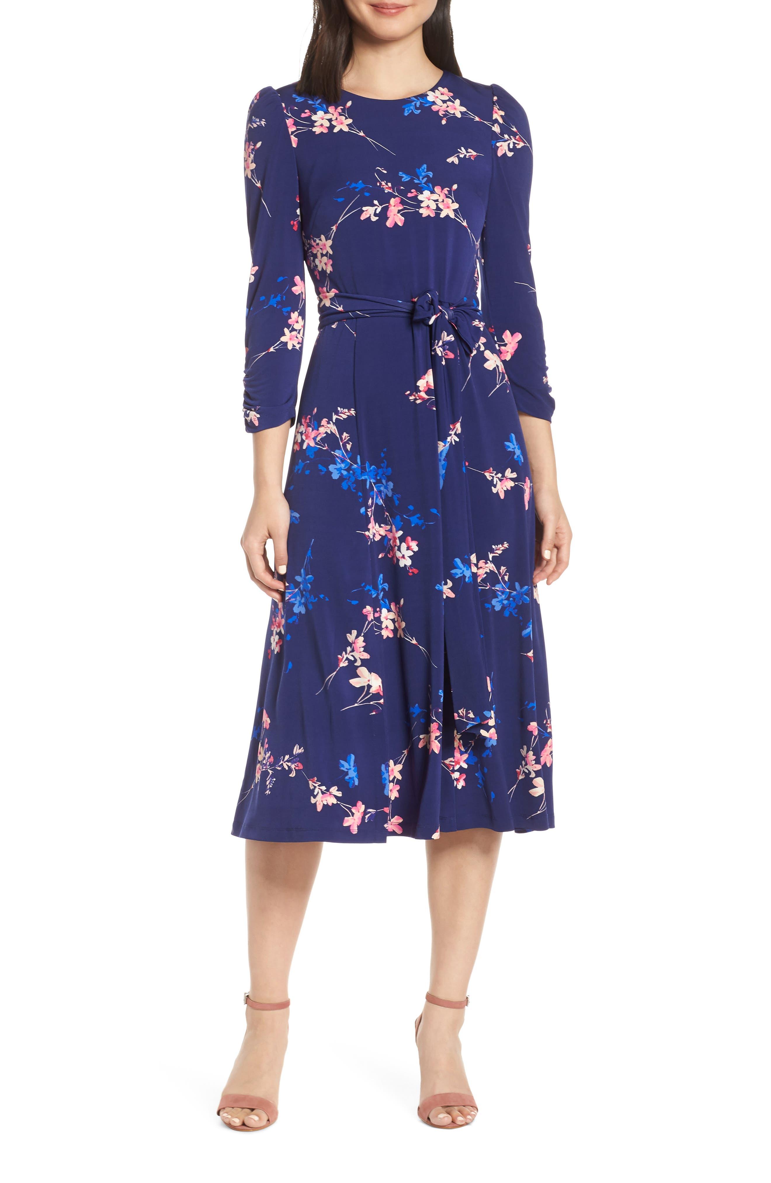 Eliza J Floral Belted Midi Dress, Blue