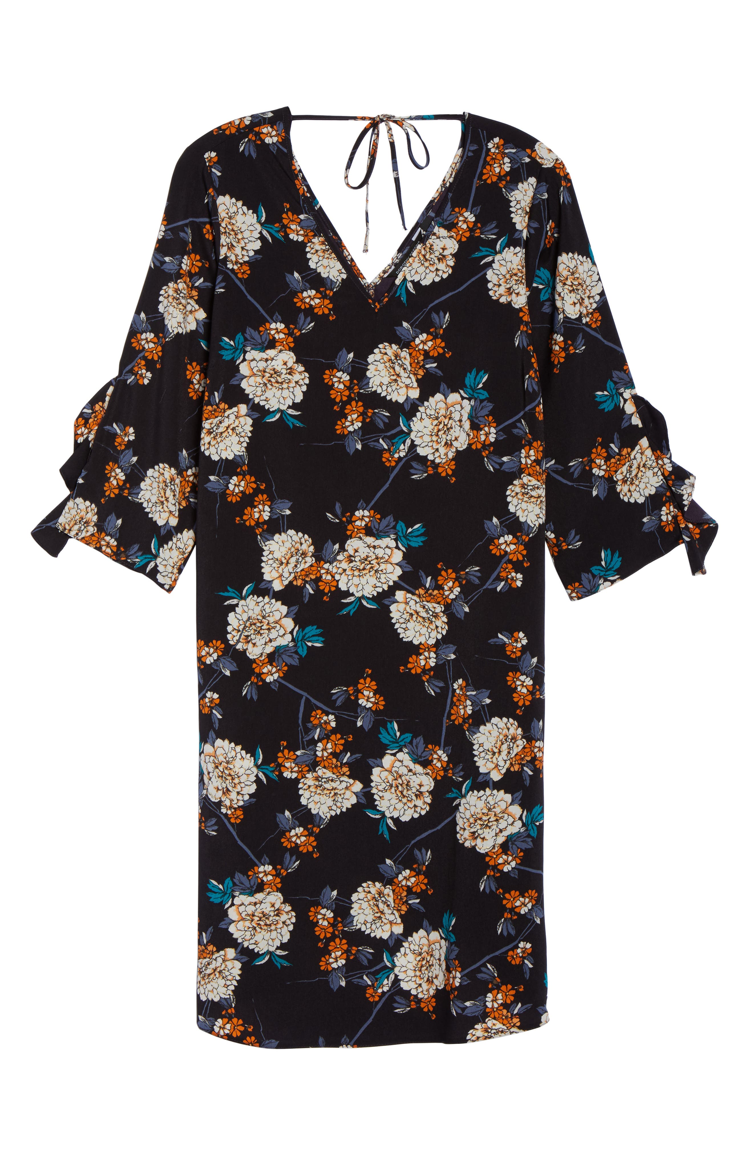 Floral Print Ruffle Sleeve Shift Dress,                             Alternate thumbnail 6, color,                             400