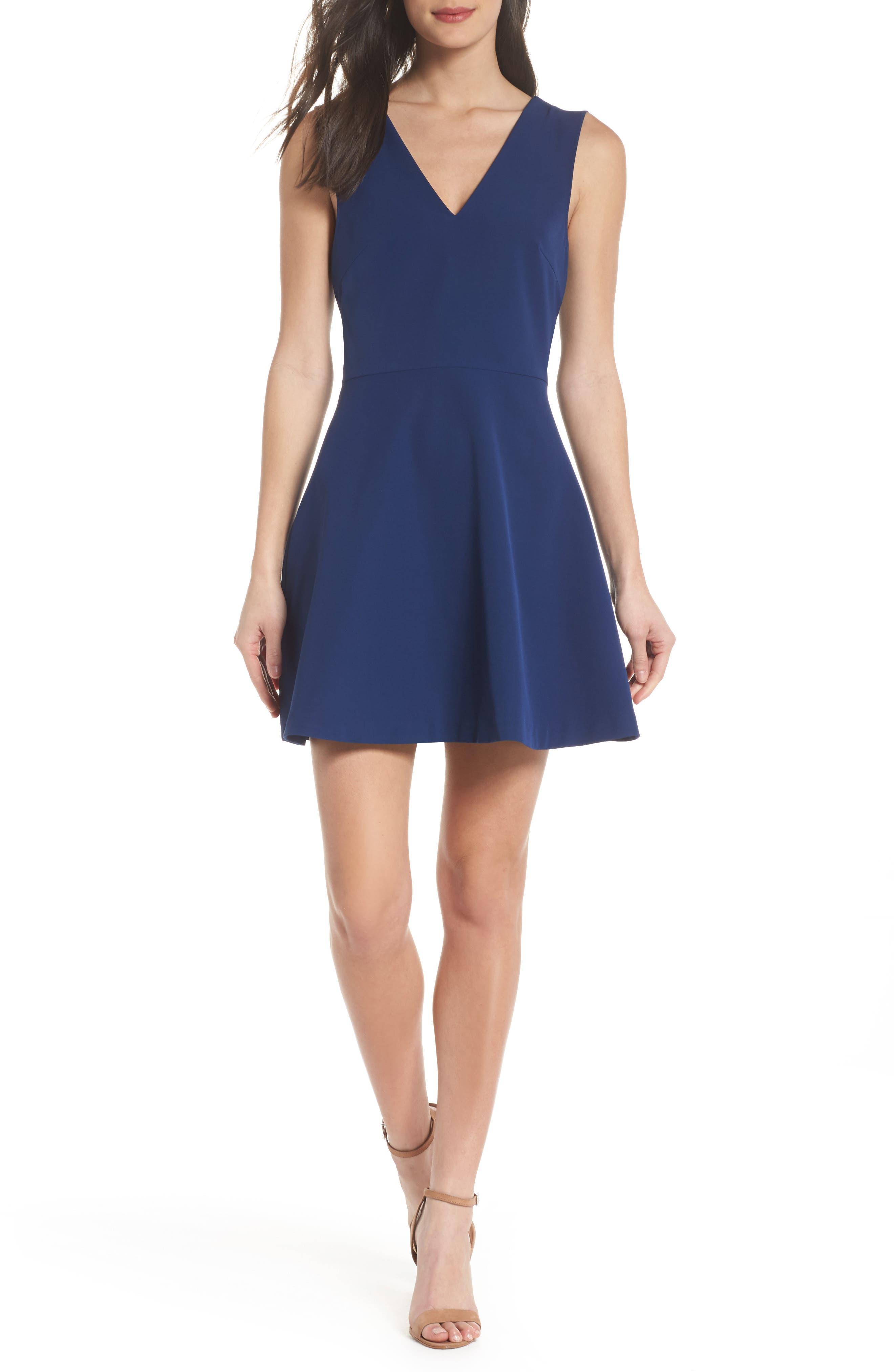 Bianca Back Cutout Fit & Flare Dress,                             Alternate thumbnail 20, color,