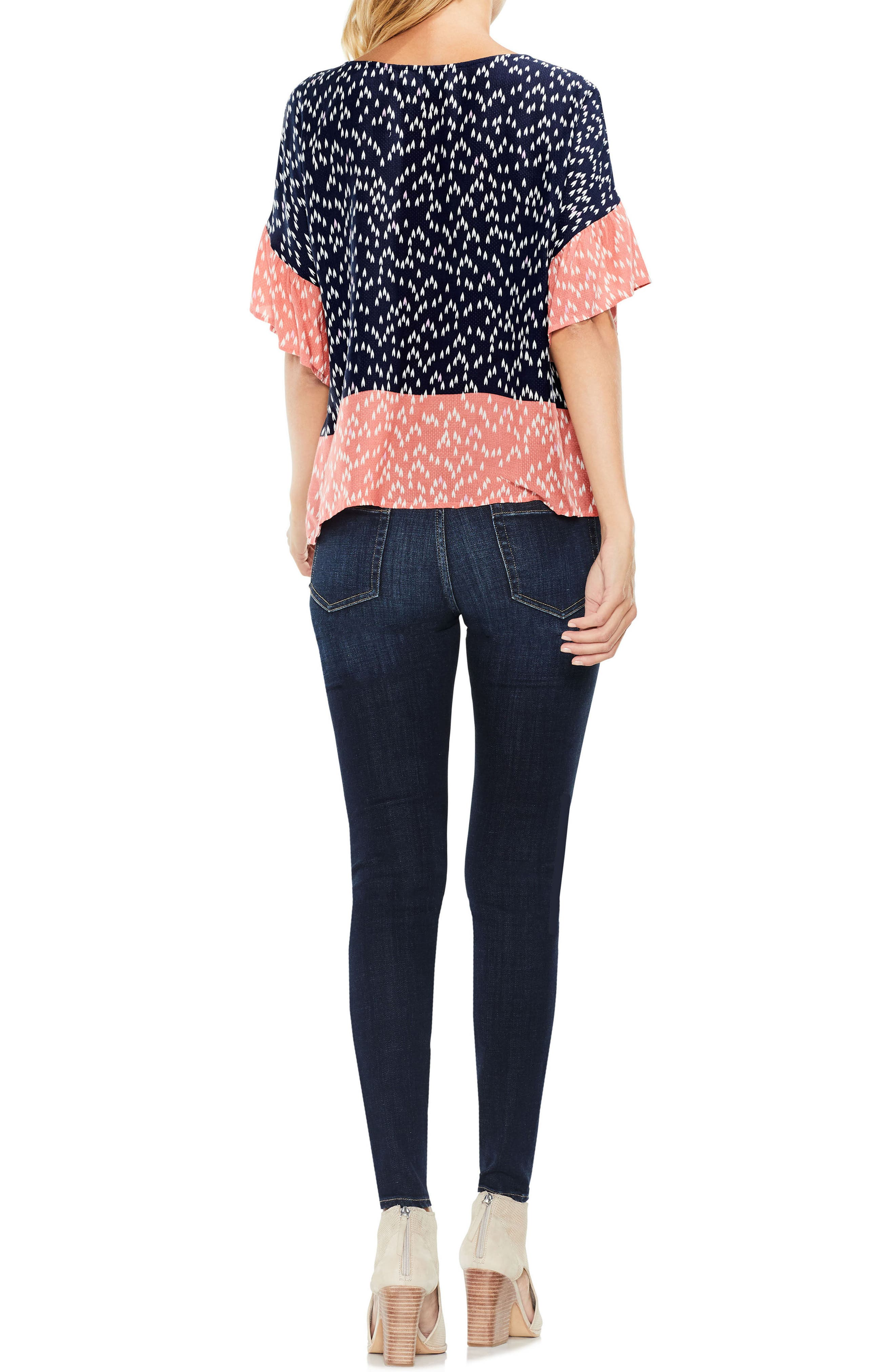 Two by Vince Camuto Ruffle Sleeve Shirt,                             Alternate thumbnail 3, color,                             BLUE NIGHT