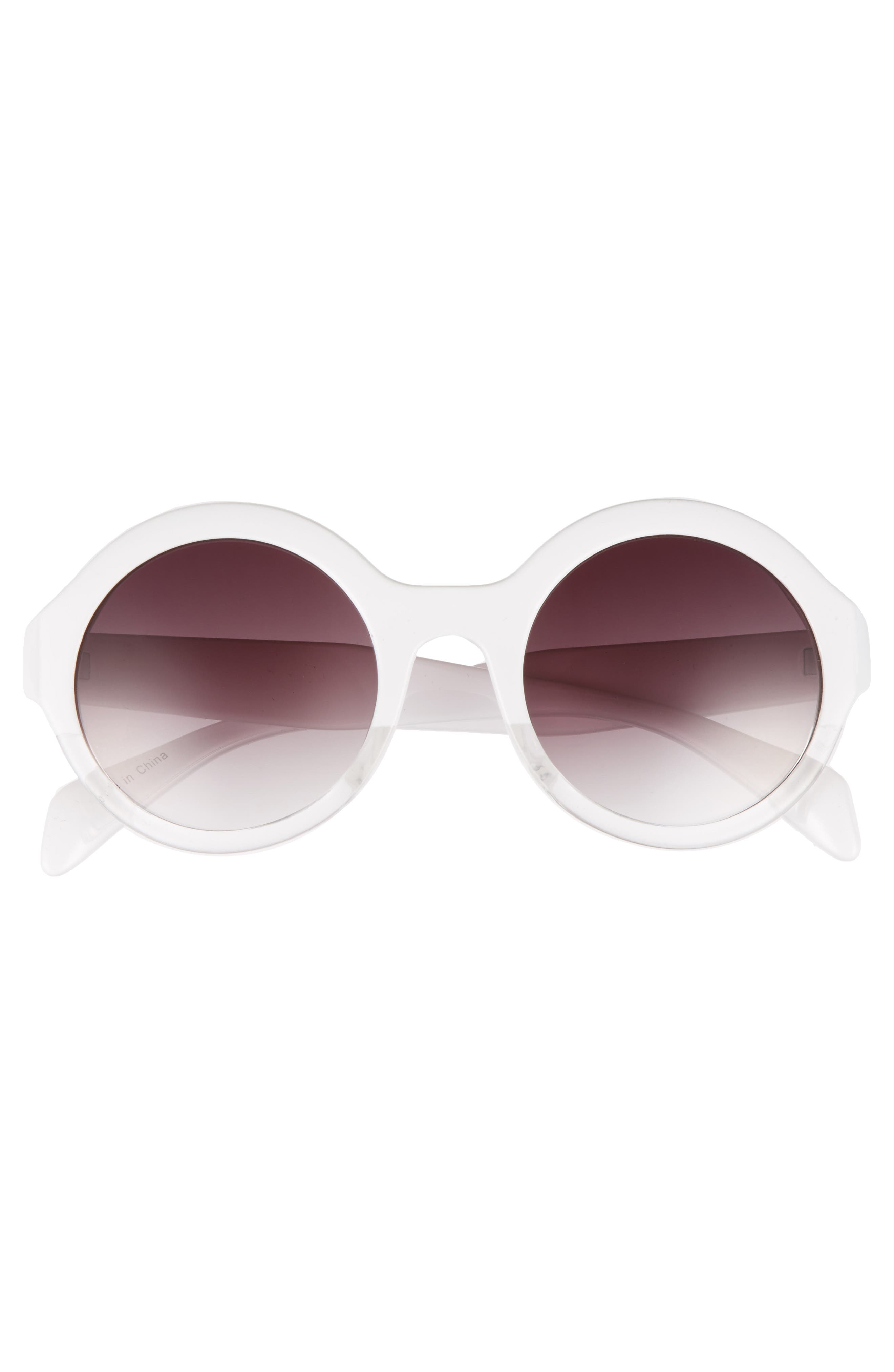 50mm Round 2 Tone Sunglasses,                             Alternate thumbnail 3, color,                             100