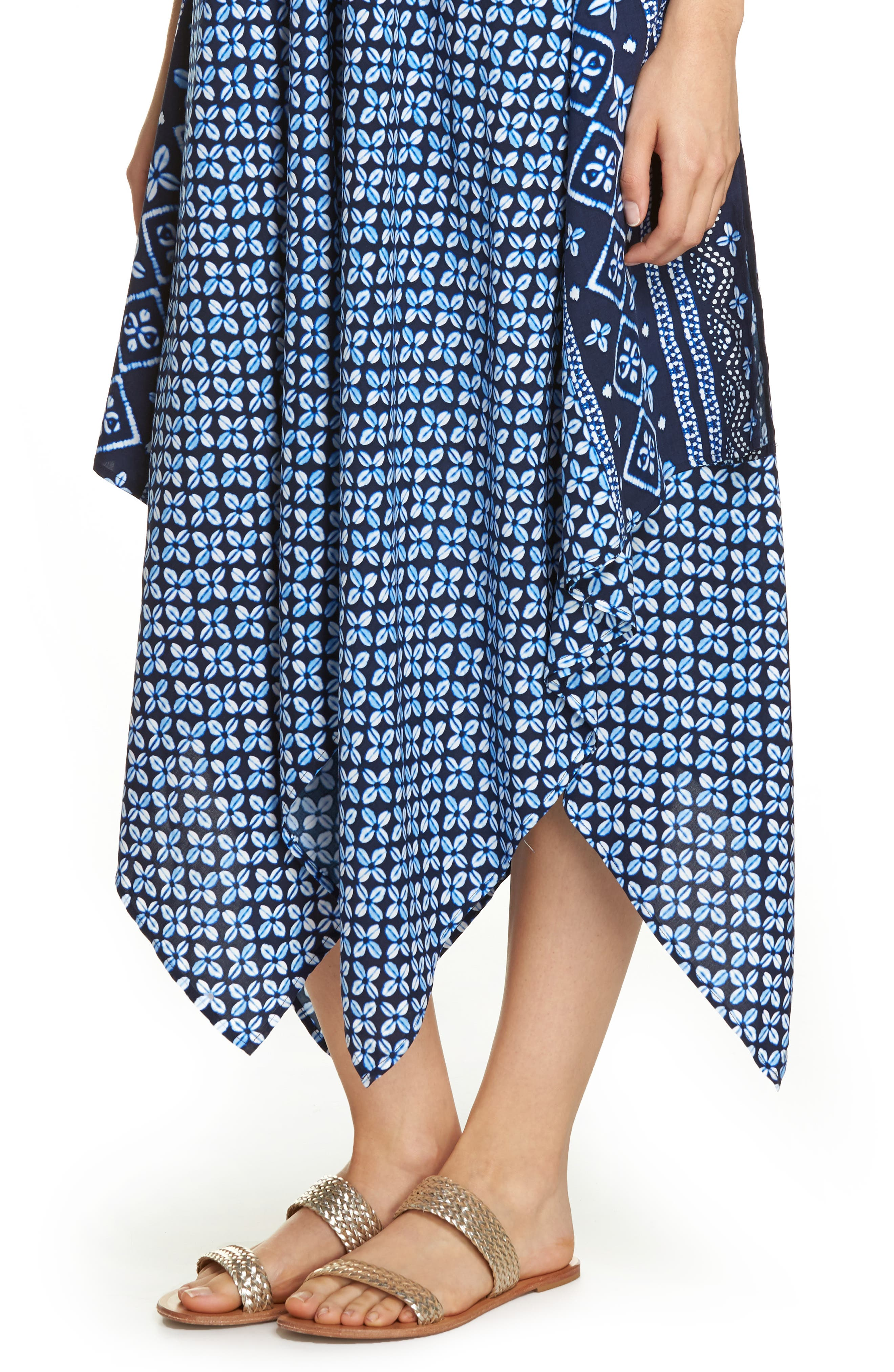 Indigo Cowrie Diamonds Cover-Up Dress,                             Alternate thumbnail 4, color,                             MARE