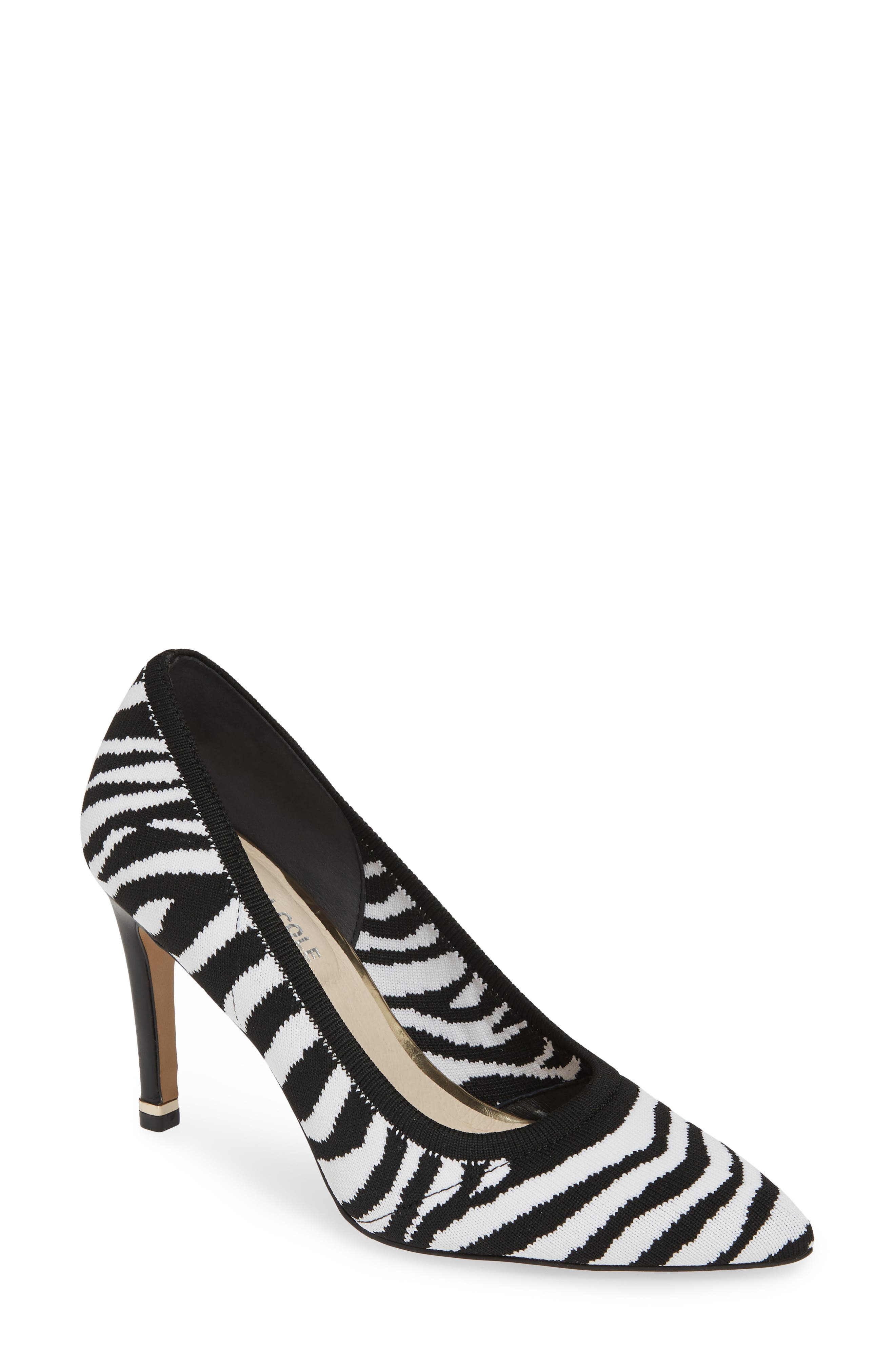 KENNETH COLE NEW YORK,                             Riley 85 Pump,                             Main thumbnail 1, color,                             BLACK/ WHITE KNIT