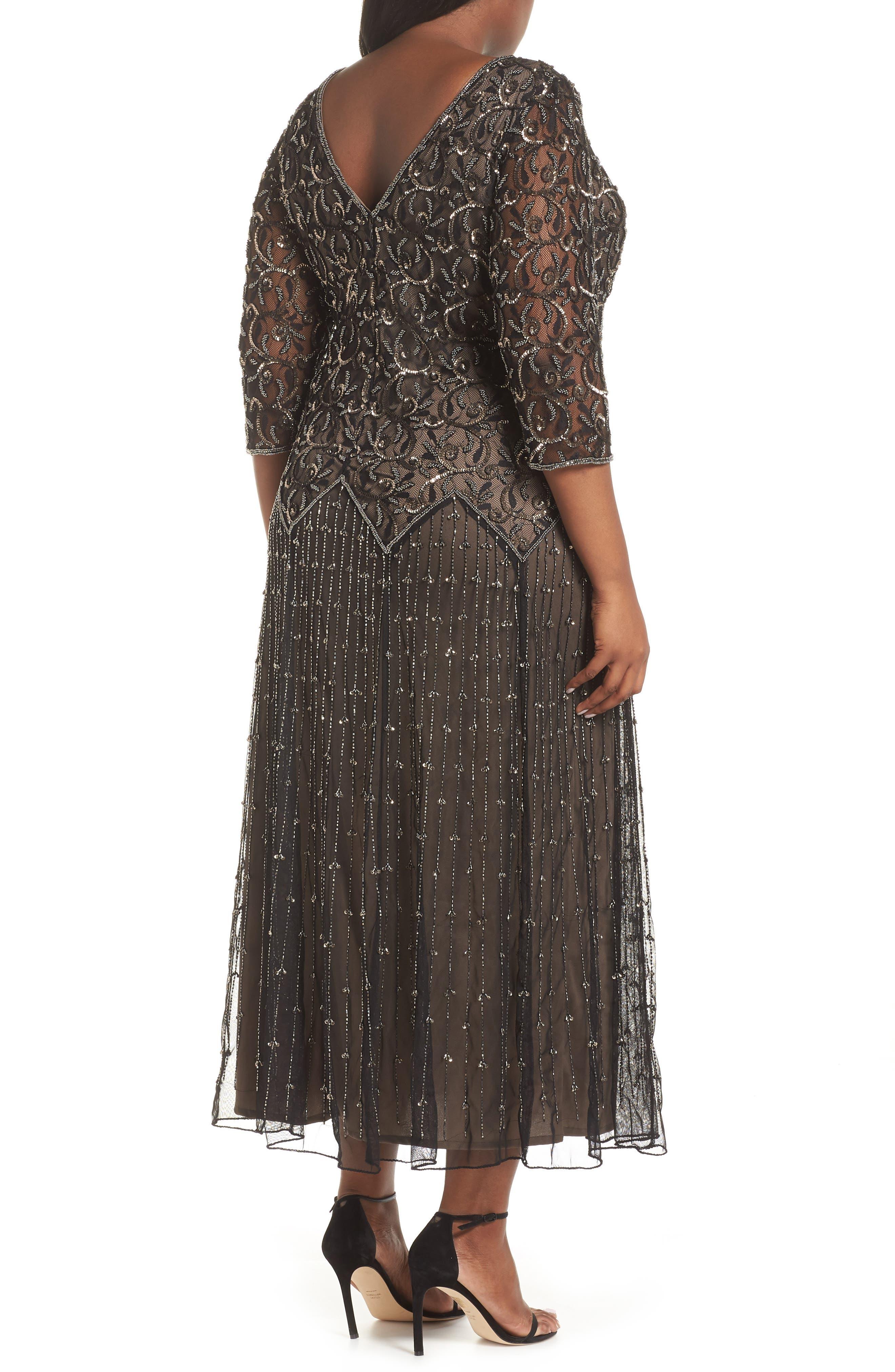 Embellished Mesh Gown,                             Alternate thumbnail 2, color,                             BLACK