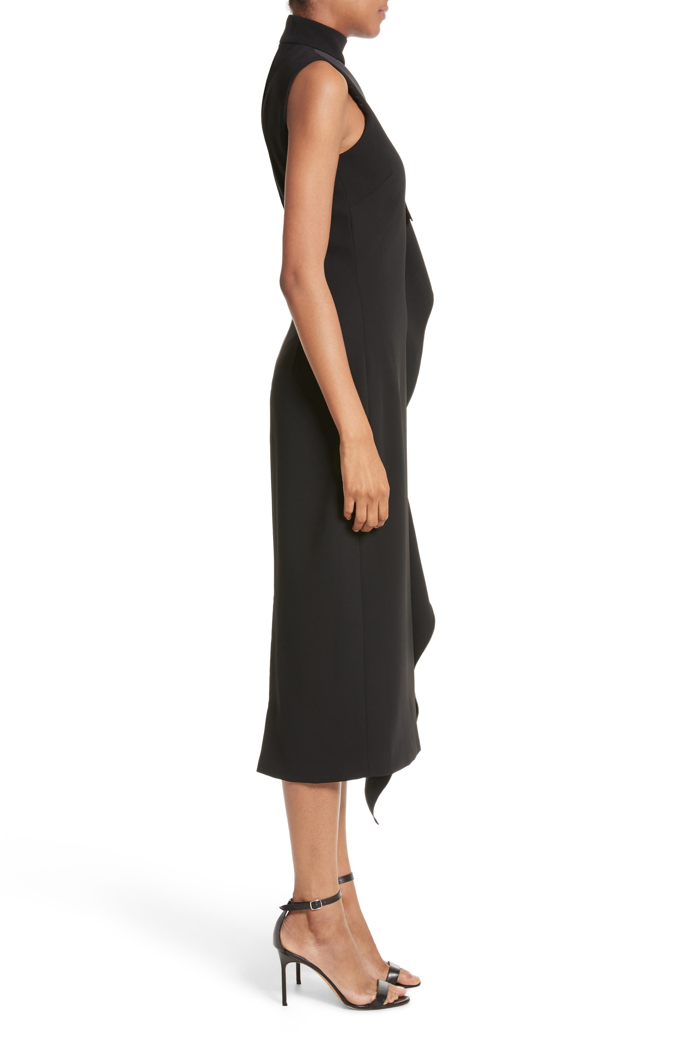 Elettra Ruffle Front Bonded Crepe Halter Dress,                             Alternate thumbnail 3, color,                             006