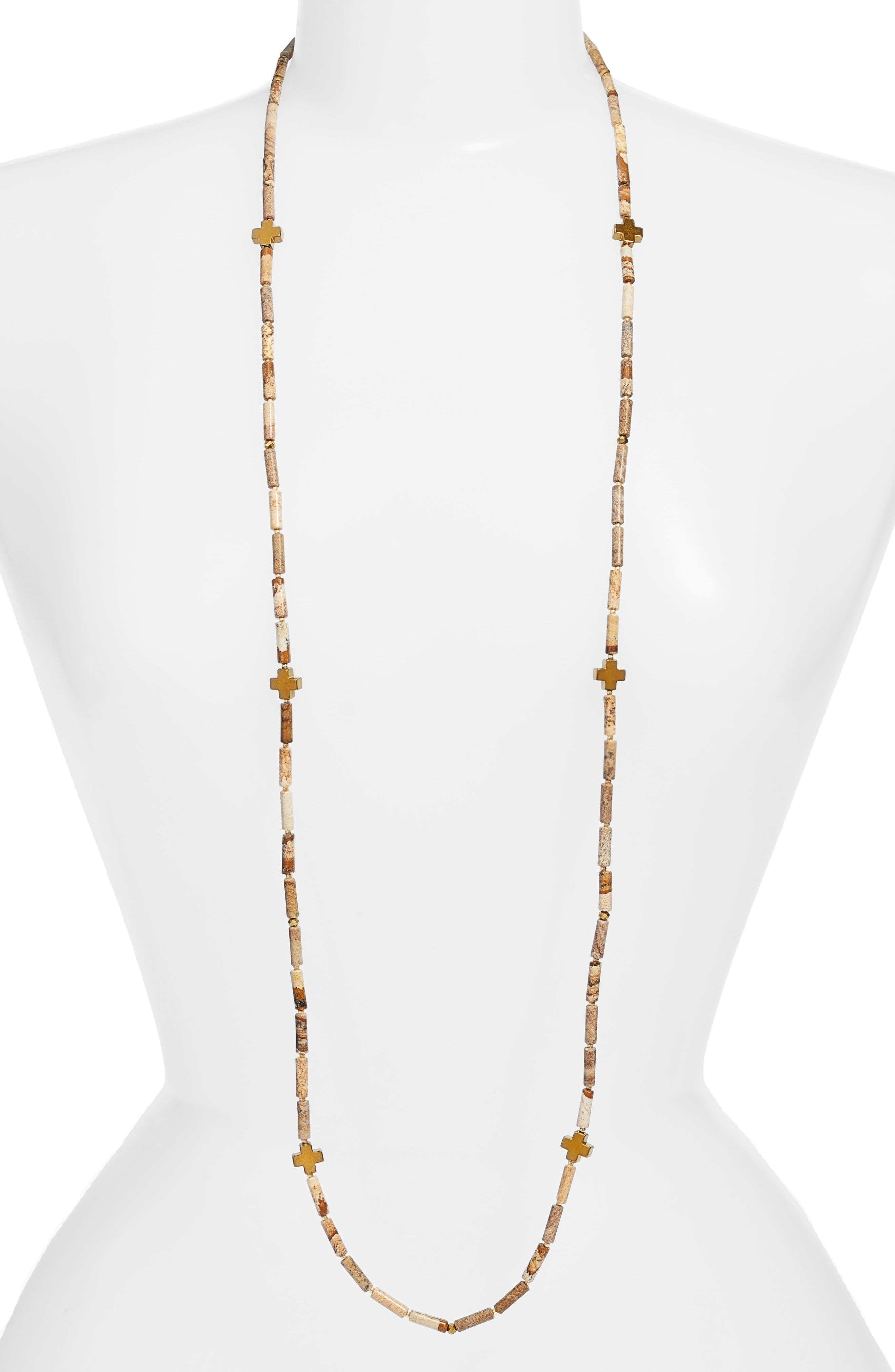 Love's Affect Even Semiprecious Stone Necklace,                         Main,                         color, BROWN