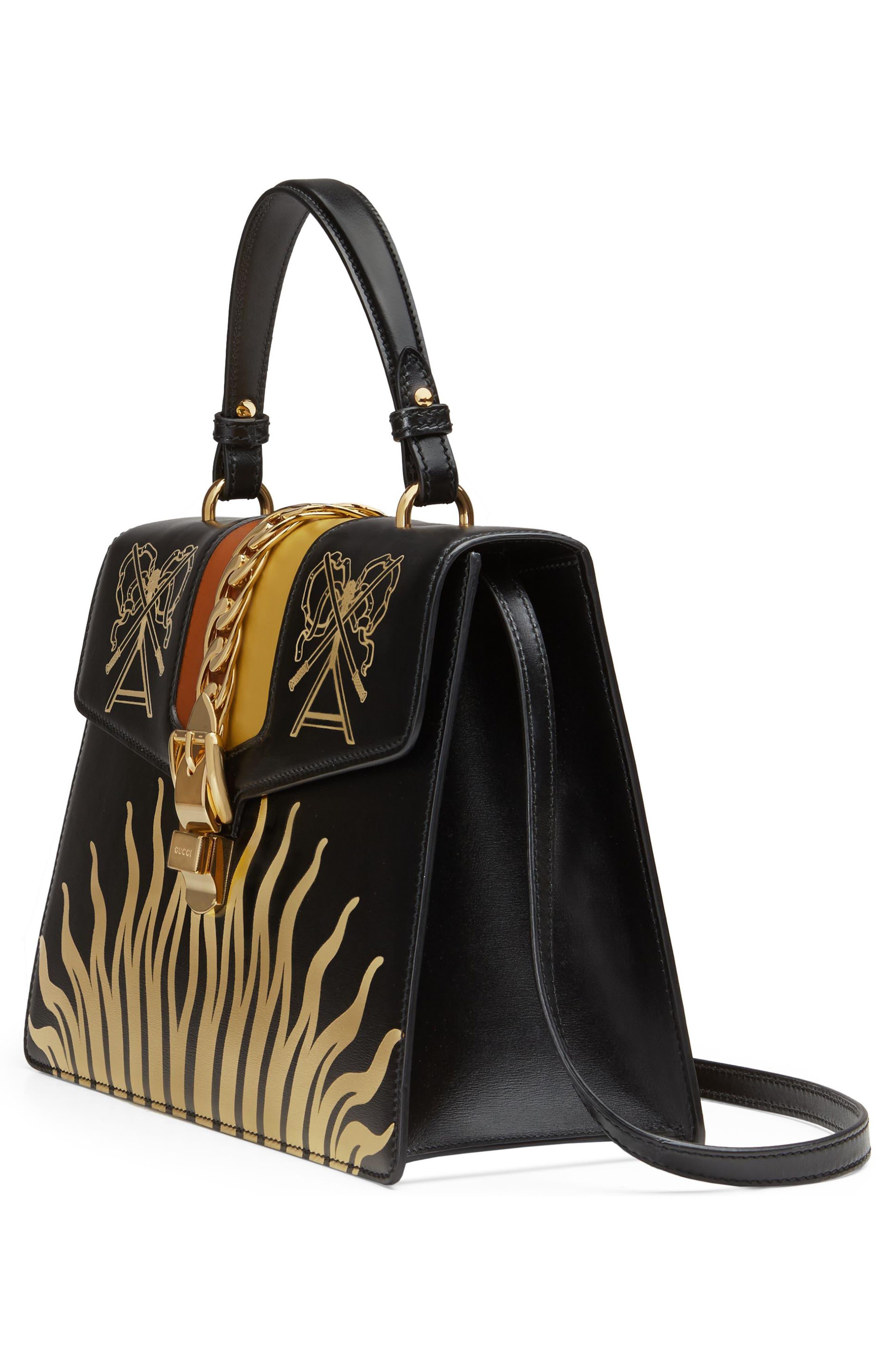 Medium Sylvie Top Handle Leather Bag,                             Alternate thumbnail 4, color,                             BLACK GOLD/ CARAMEL/ OCHRE