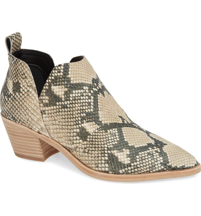 Sonni Pointy Toe Bootie, Main, color, SNAKE PRINT EMBOSSED LEATHER
