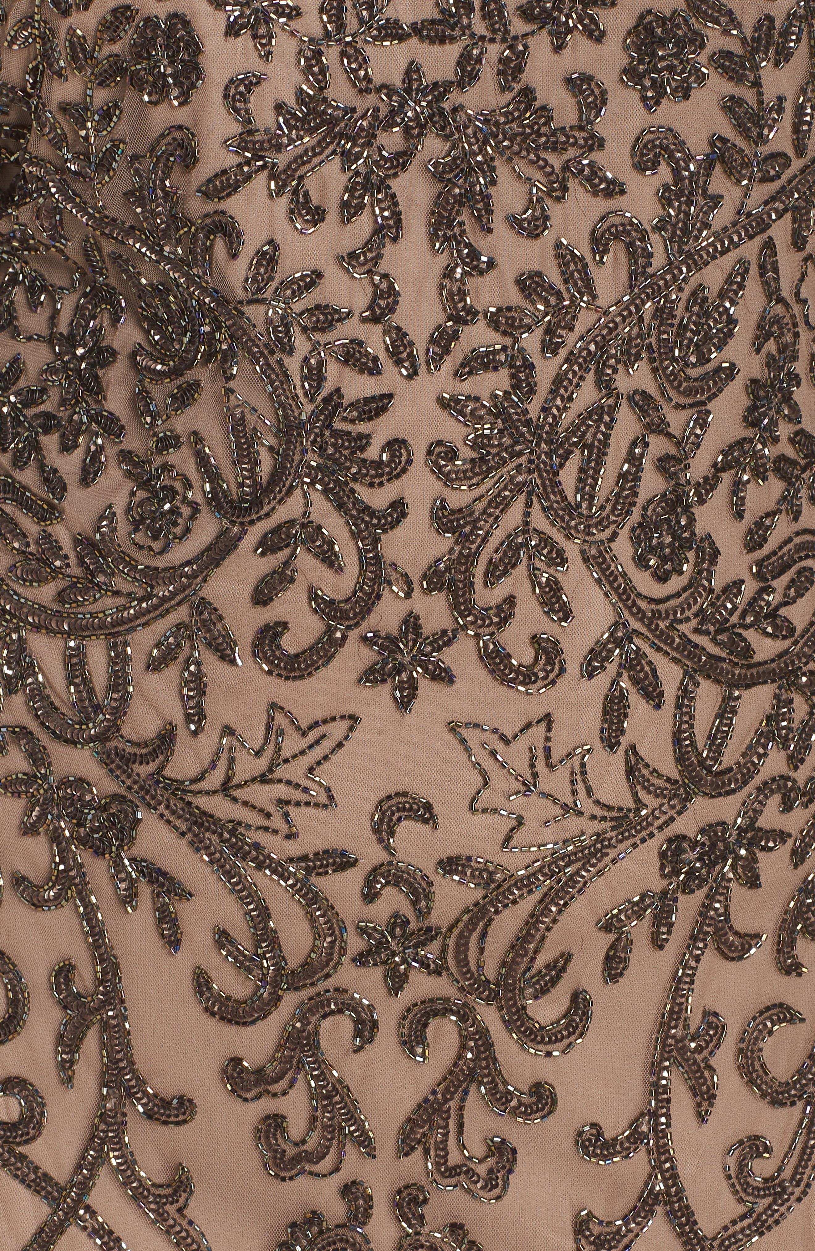 Embellished Mesh Sheath Dress,                             Alternate thumbnail 12, color,                             MOCHA