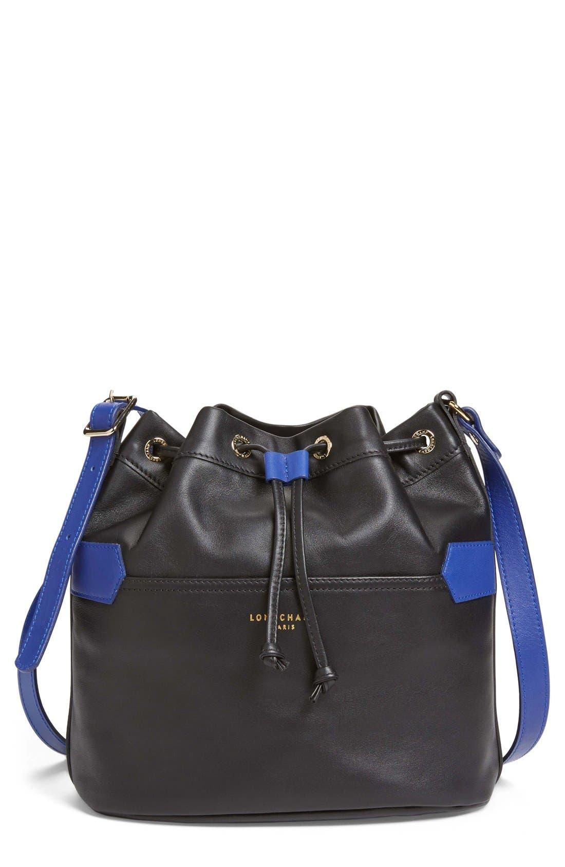 LONGCHAMP,                             '2.0' Leather Bucket Bag,                             Main thumbnail 1, color,                             001
