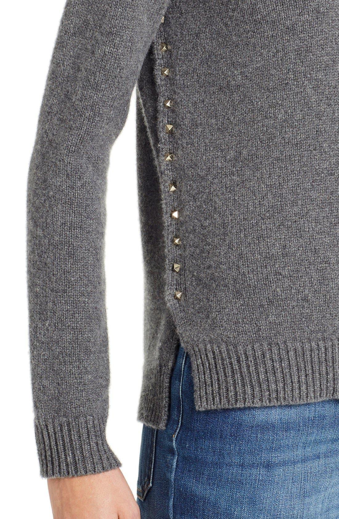 Studded Crewneck Cashmere Sweater,                             Alternate thumbnail 4, color,                             GREY