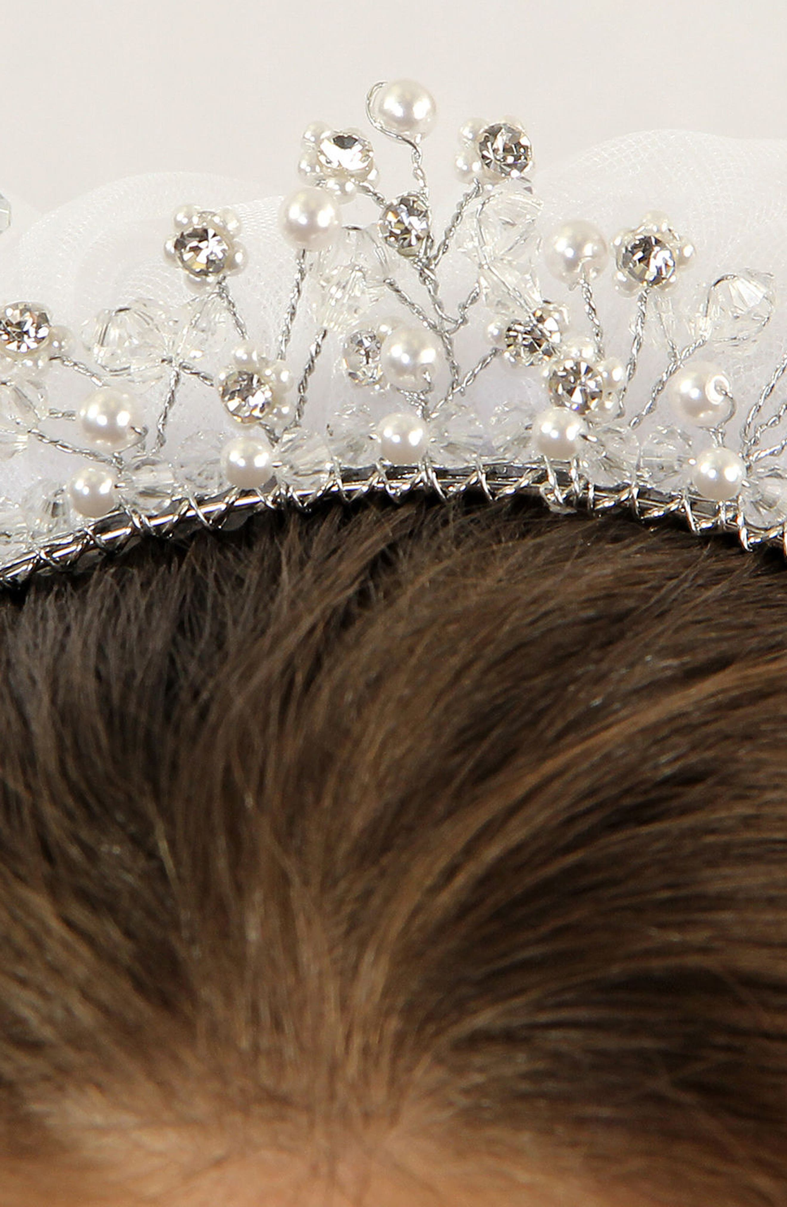 Imitation Pearl Crown & Veil,                             Alternate thumbnail 6, color,                             WHITE