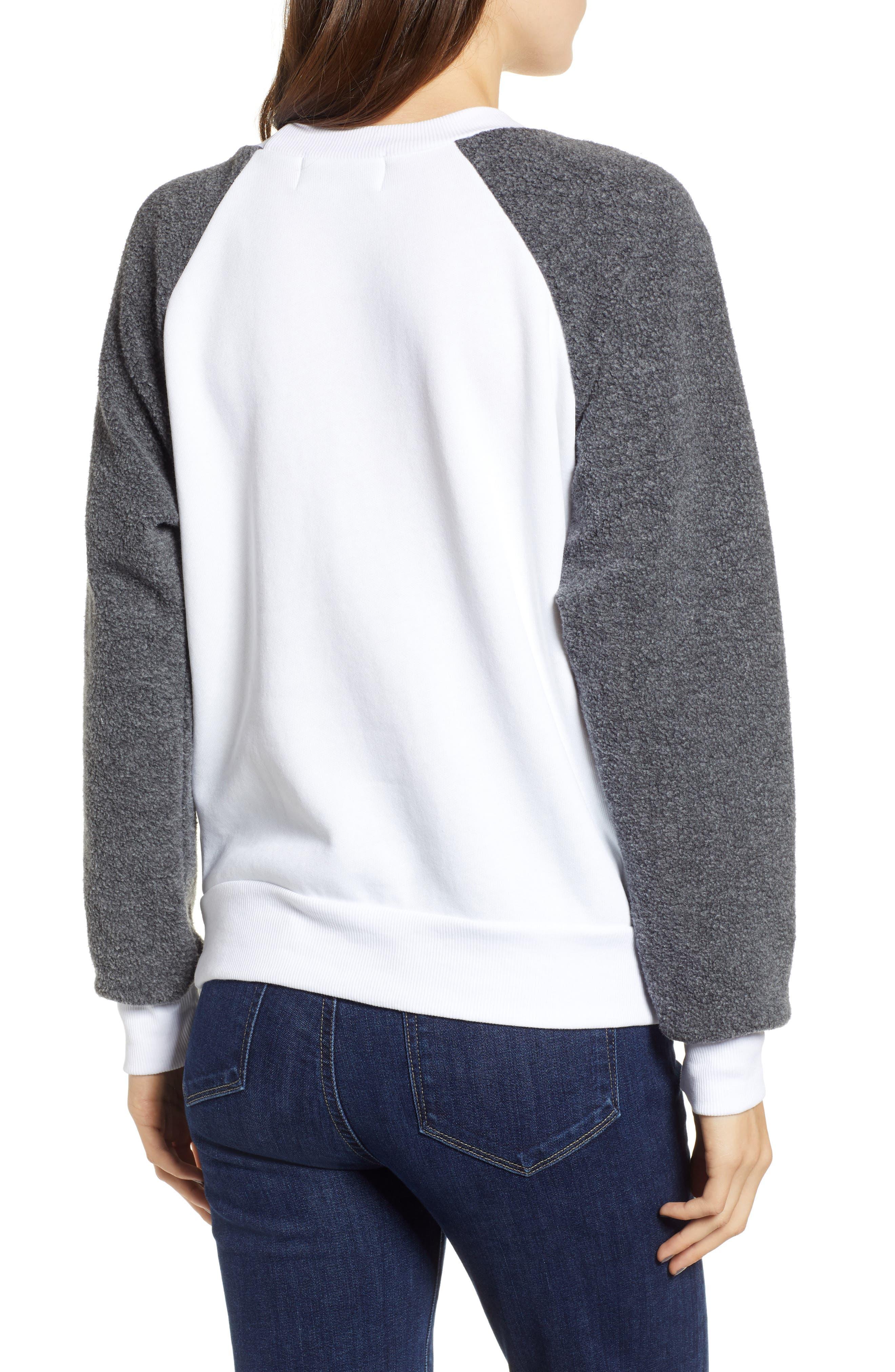 Fatale Fleece Sleeve Sweatshirt,                             Alternate thumbnail 2, color,                             CLEAN WHITE/ CLEAN BLACK