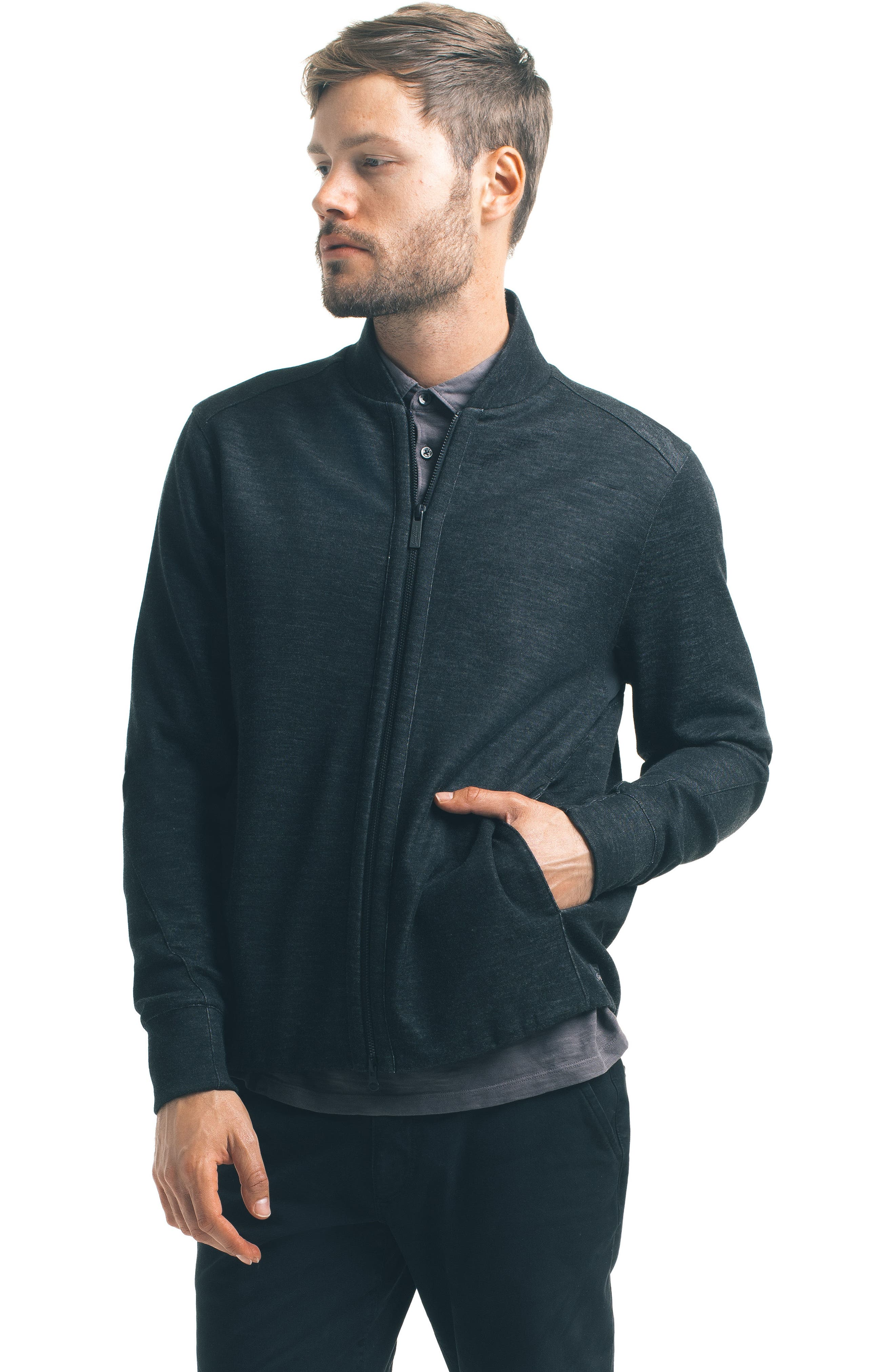 Modern Slim Fit Bomber Jacket,                             Alternate thumbnail 5, color,                             001