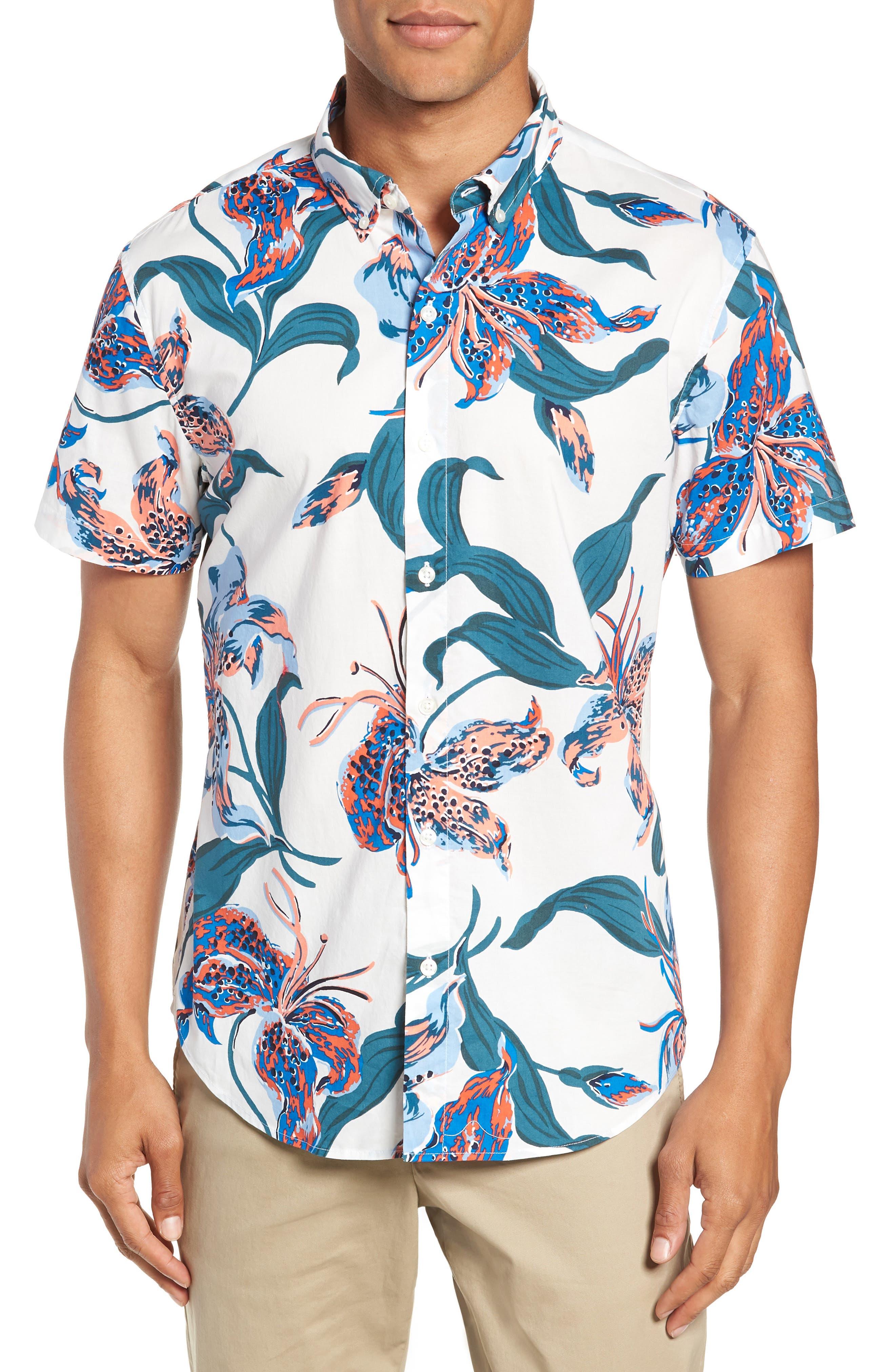 Riviera Slim Fit Floral Sport Shirt,                         Main,                         color, BRIGHTON FLORAL - BLUE LEGACY