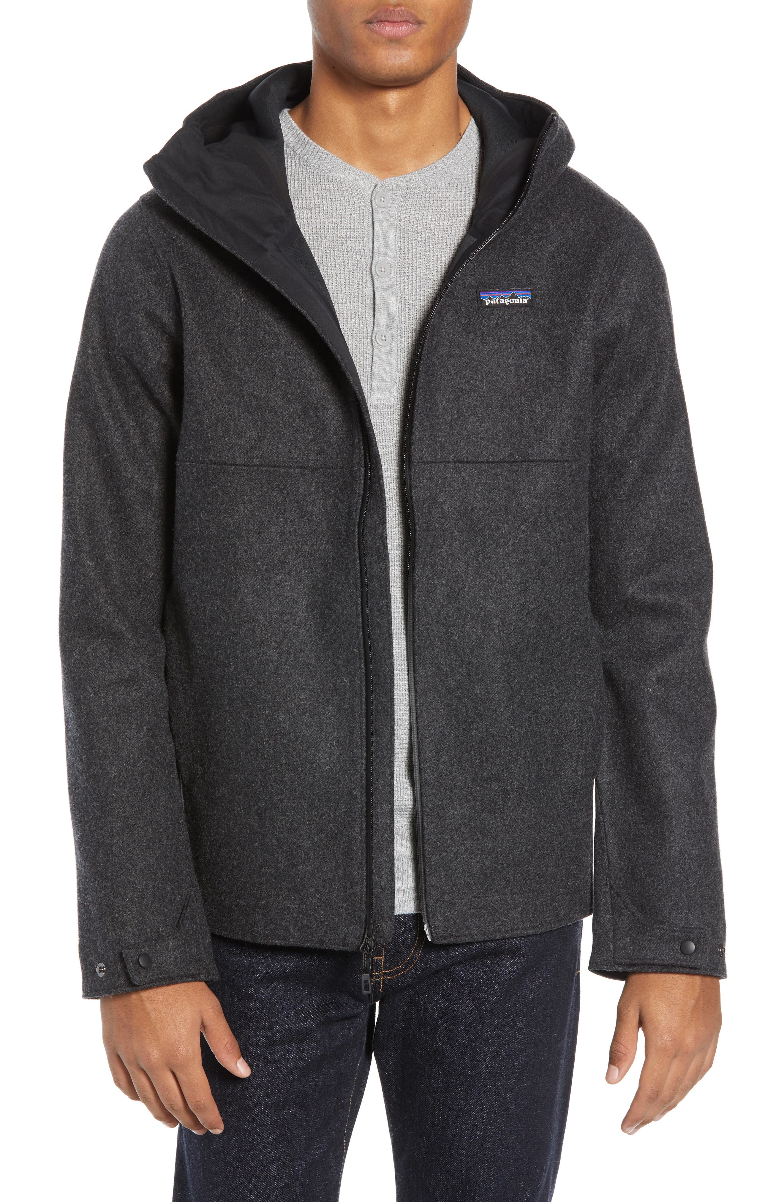 Woolyester Hooded Jacket,                             Main thumbnail 1, color,                             FORGE GREY