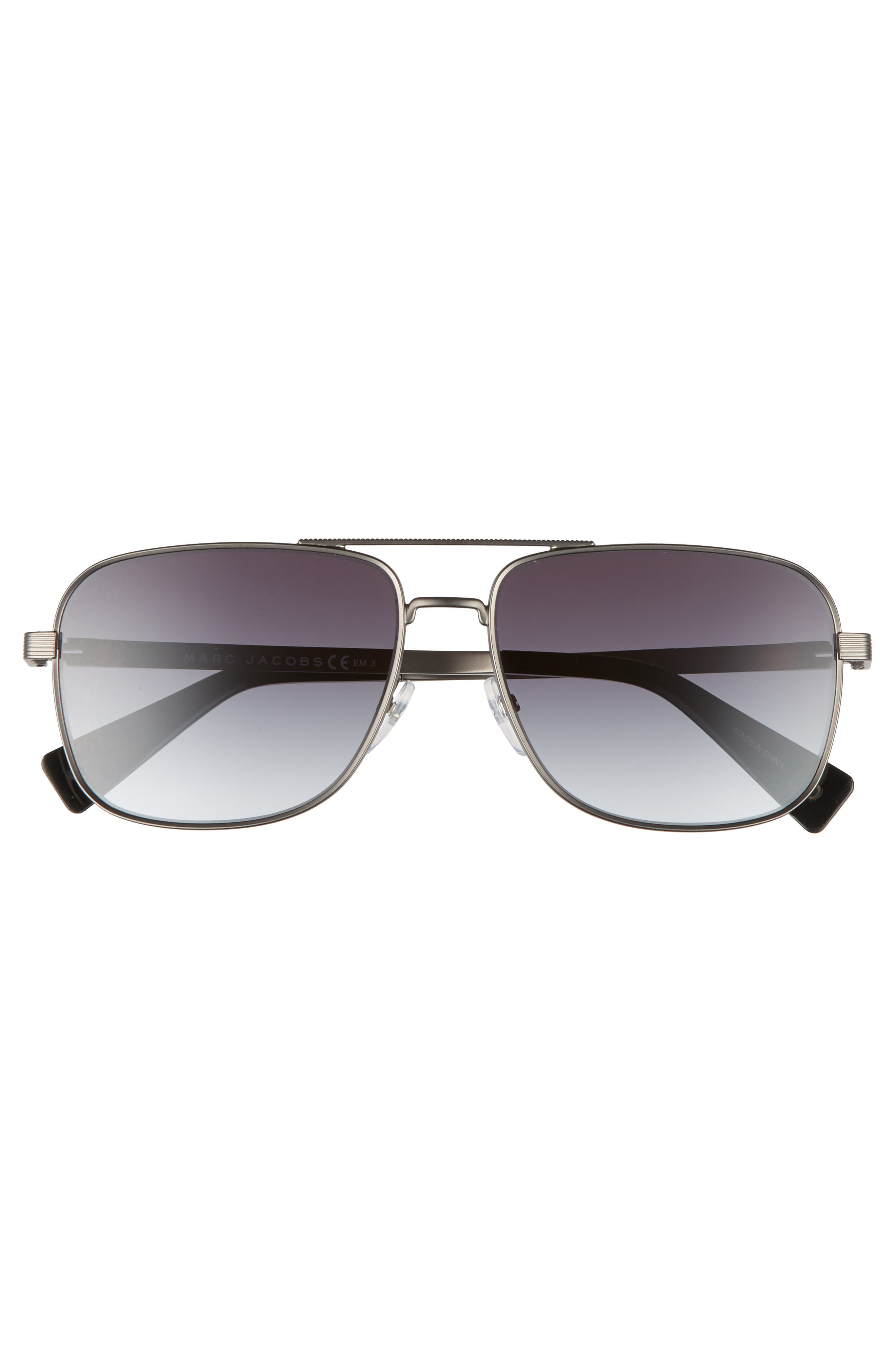 59mm Gradient Navigator Sunglasses,                             Alternate thumbnail 3, color,                             SEMI MATTE DARK RUTHENIUM