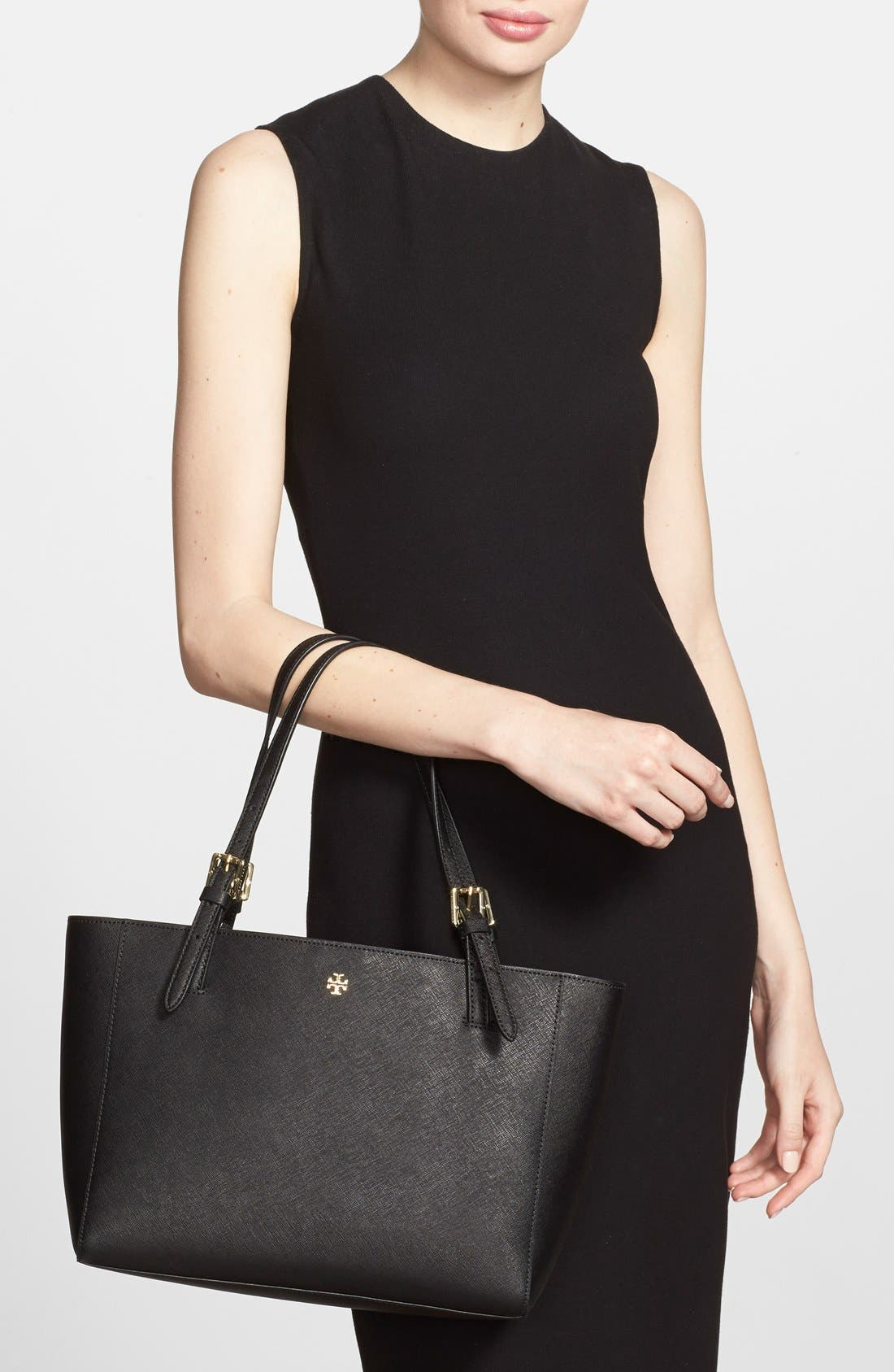 'Small York' Saffiano Leather Buckle Tote,                             Alternate thumbnail 17, color,