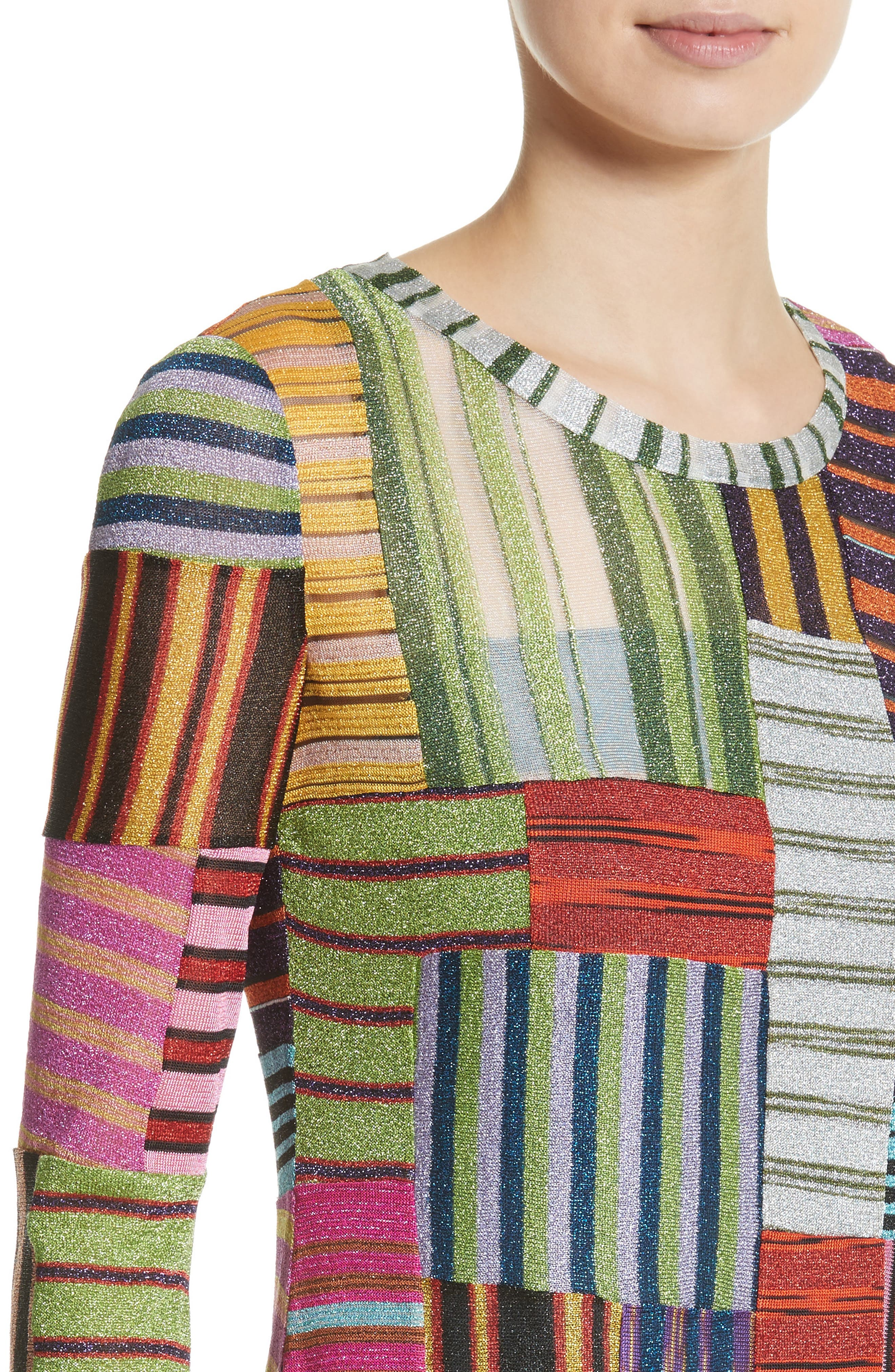 Metallic Patchwork Stripe Knit Maxi Dress,                             Alternate thumbnail 4, color,