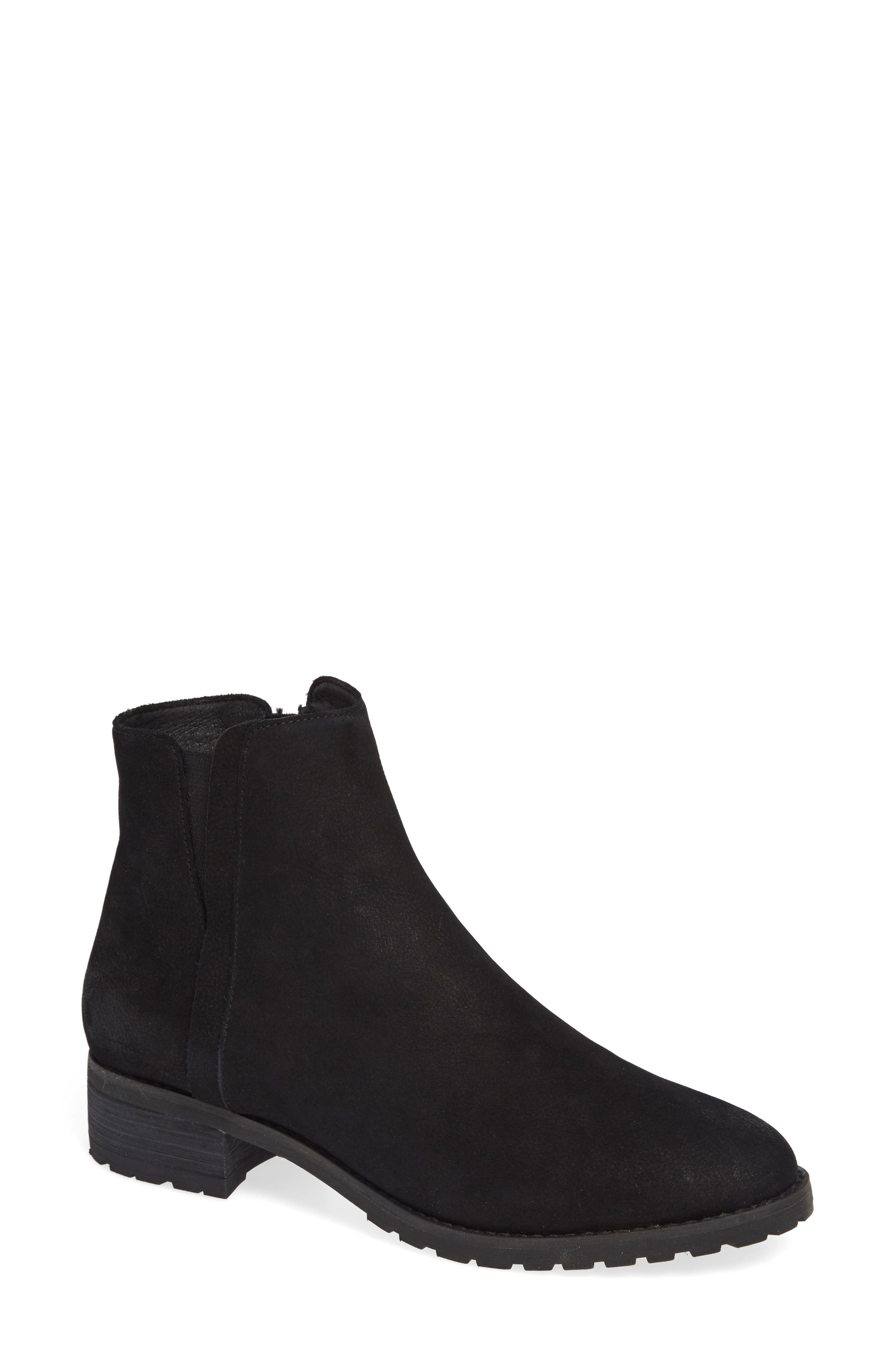 Ollie Water Resistant Bootie,                             Main thumbnail 1, color,                             BLACK OILED NUBUCK