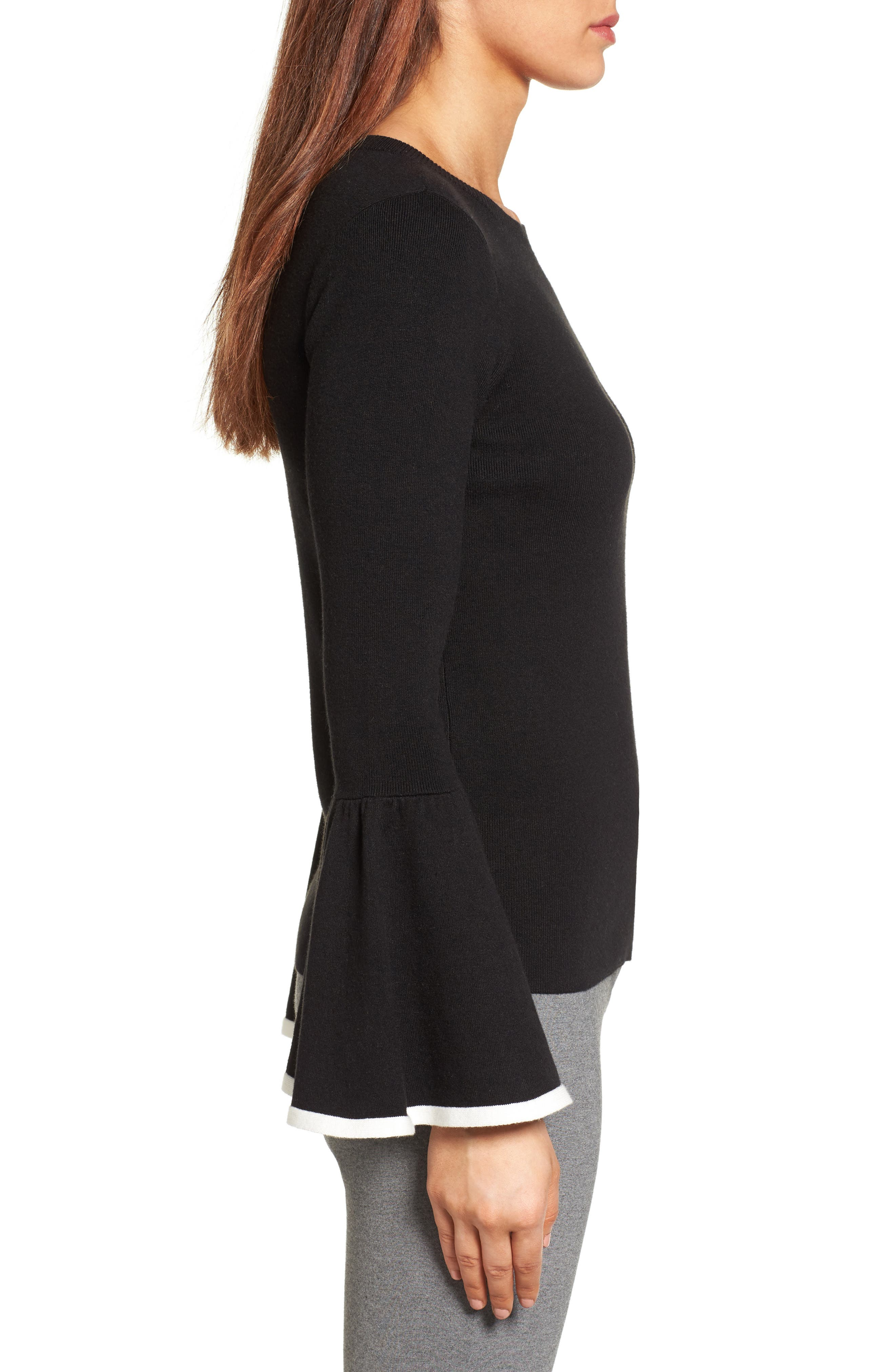 Flare Sleeve Sweater,                             Alternate thumbnail 3, color,                             001