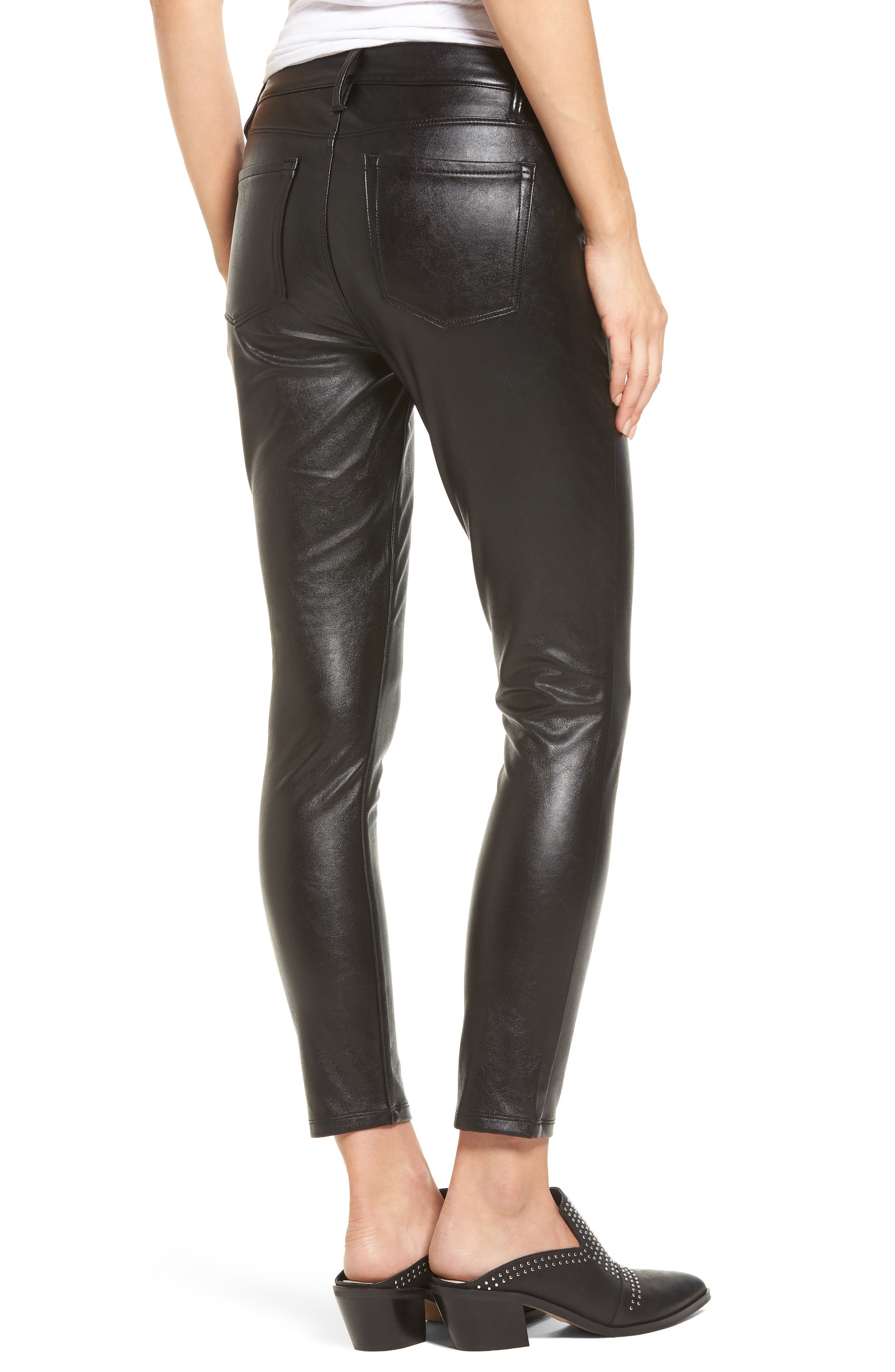 Faux Leather Skinny Jeans,                             Alternate thumbnail 2, color,                             001
