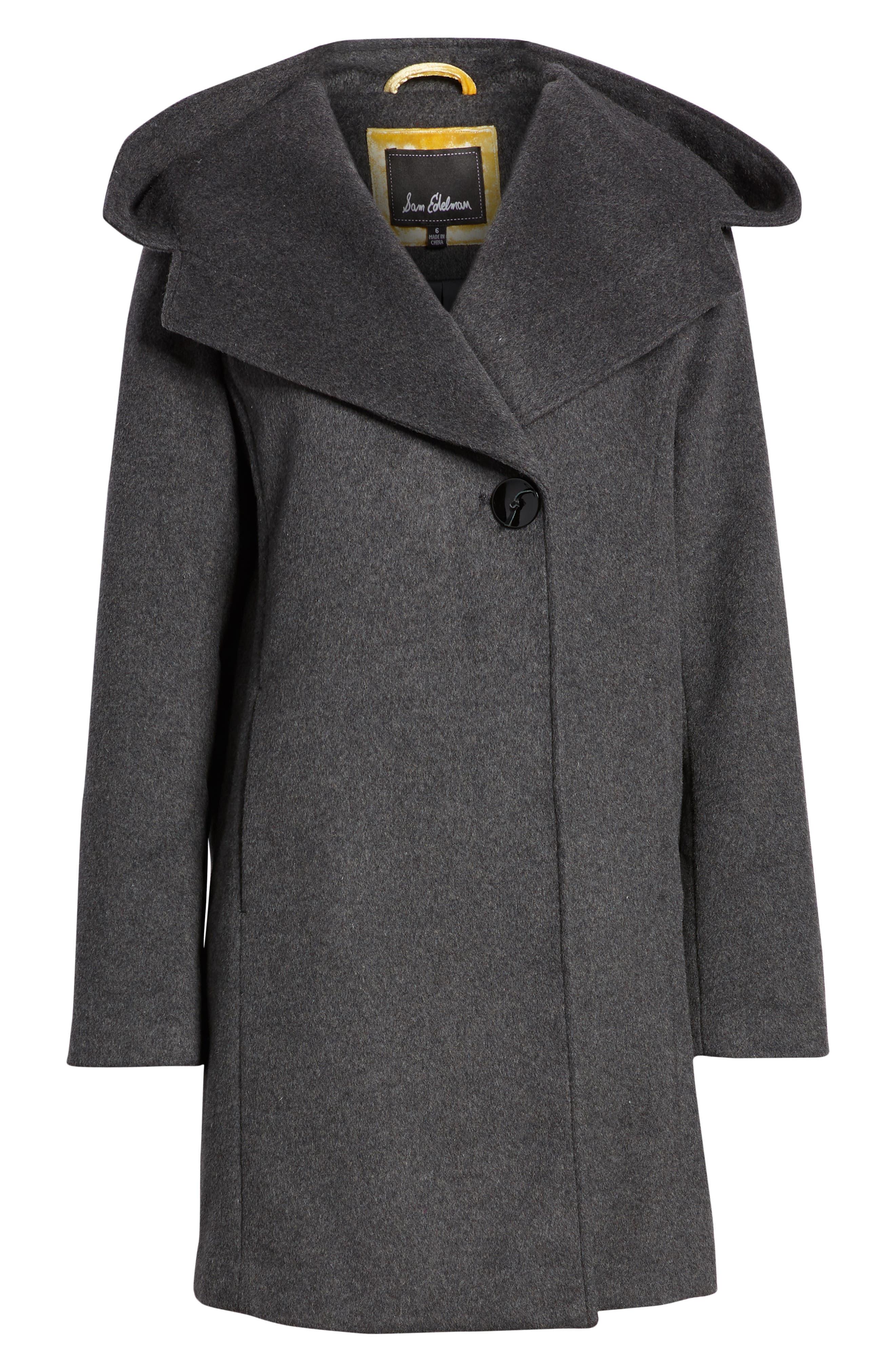 Shawl Collar Hooded Coat,                             Alternate thumbnail 6, color,                             CHARCOAL