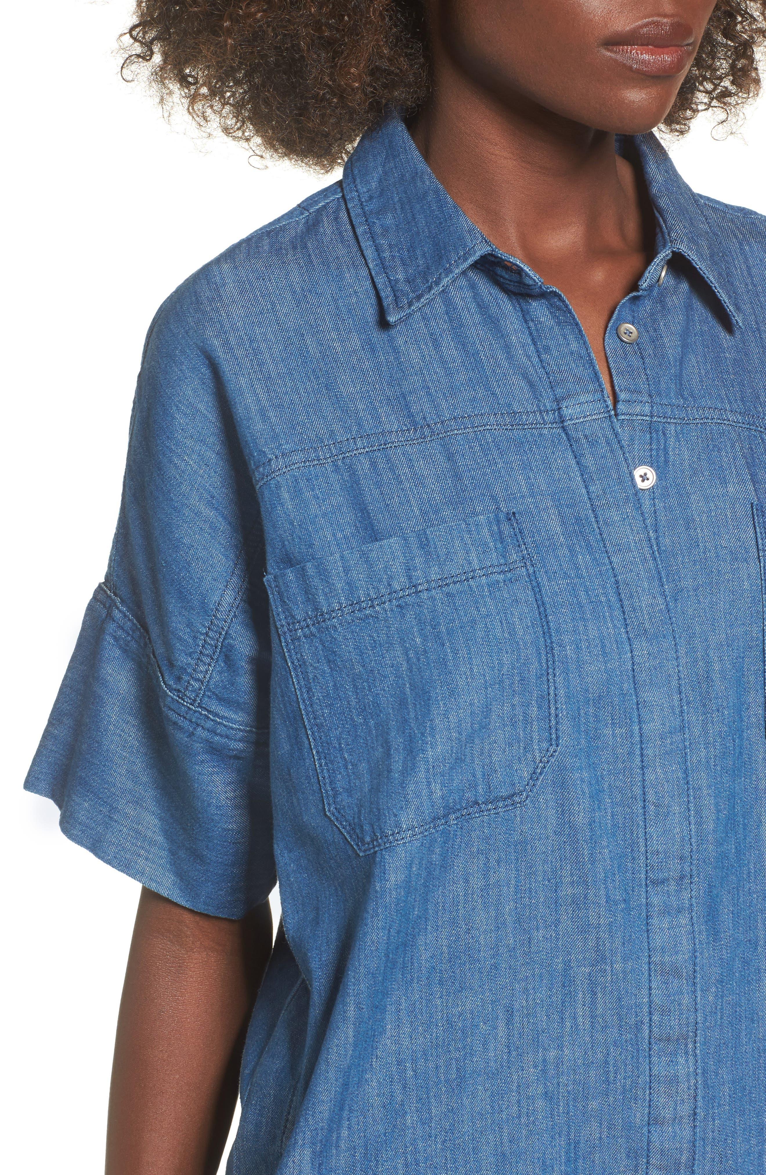 Denim Shirtdress,                             Alternate thumbnail 4, color,