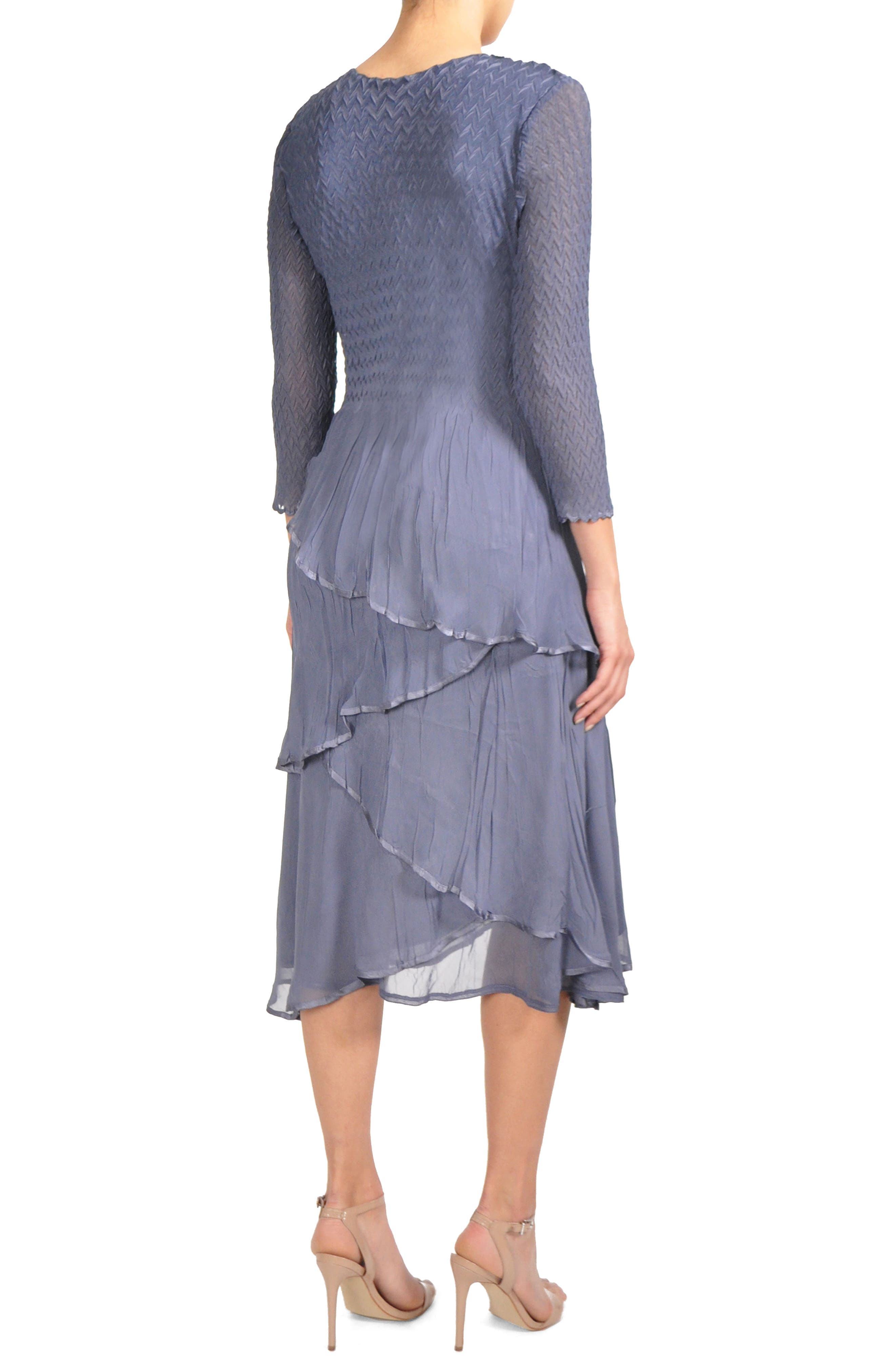 Tiered Chiffon A-Line Dress,                             Alternate thumbnail 3, color,