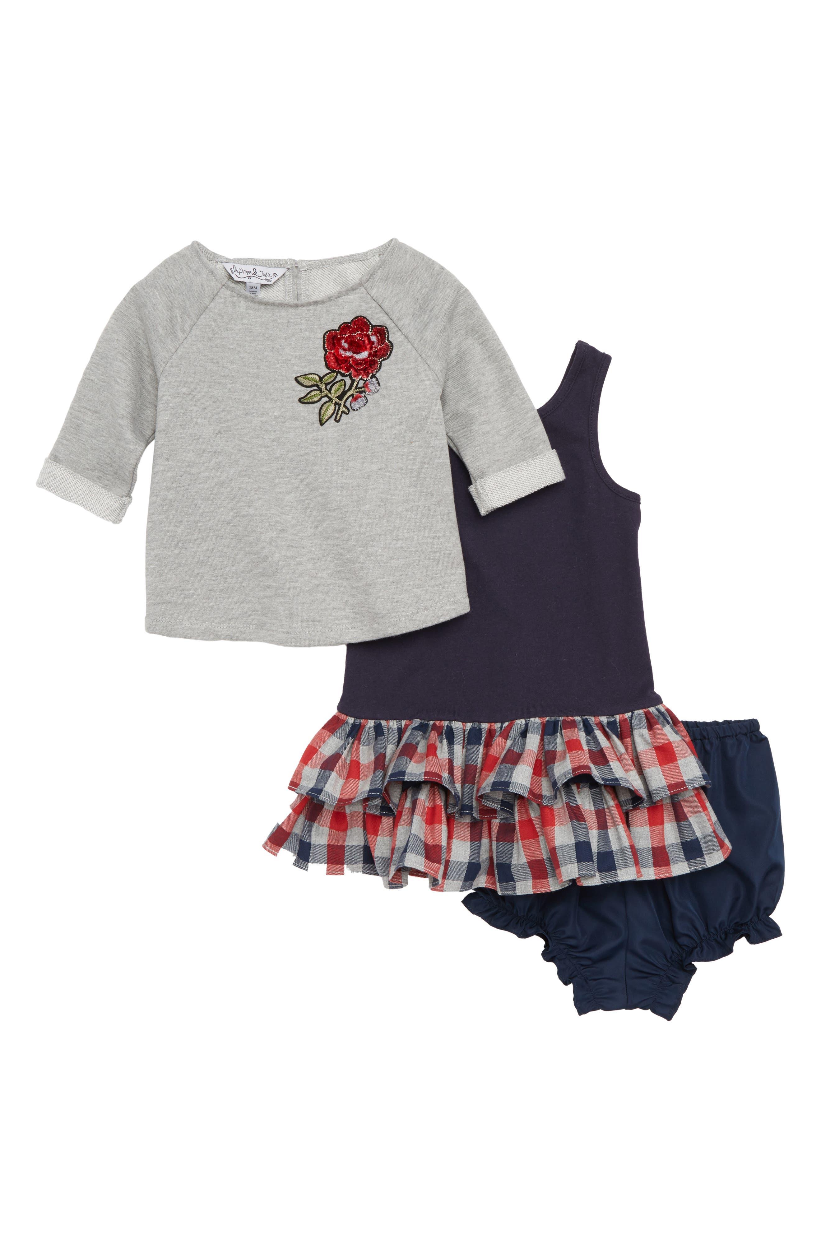 Rose Sweatshirt & Dress Set,                             Main thumbnail 1, color,                             020
