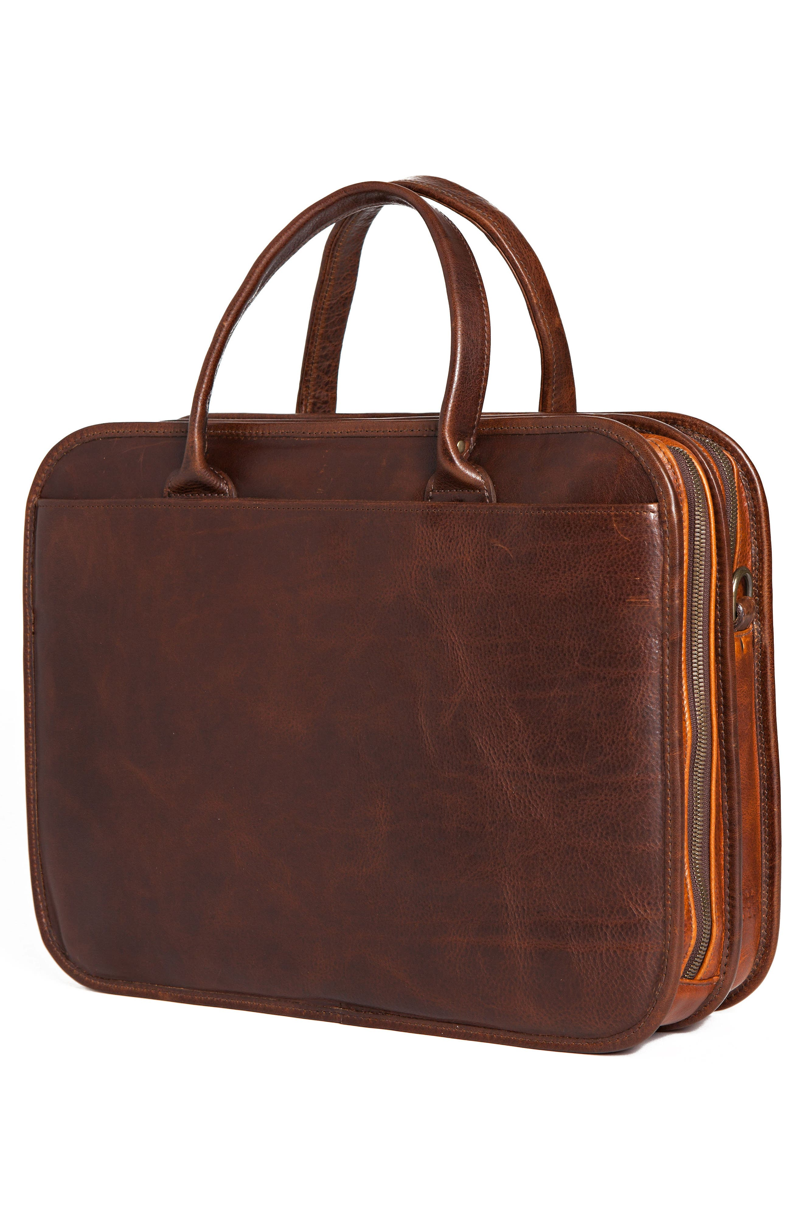 Miller Leather Briefcase,                             Alternate thumbnail 5, color,                             TITAN MILLED BROWN