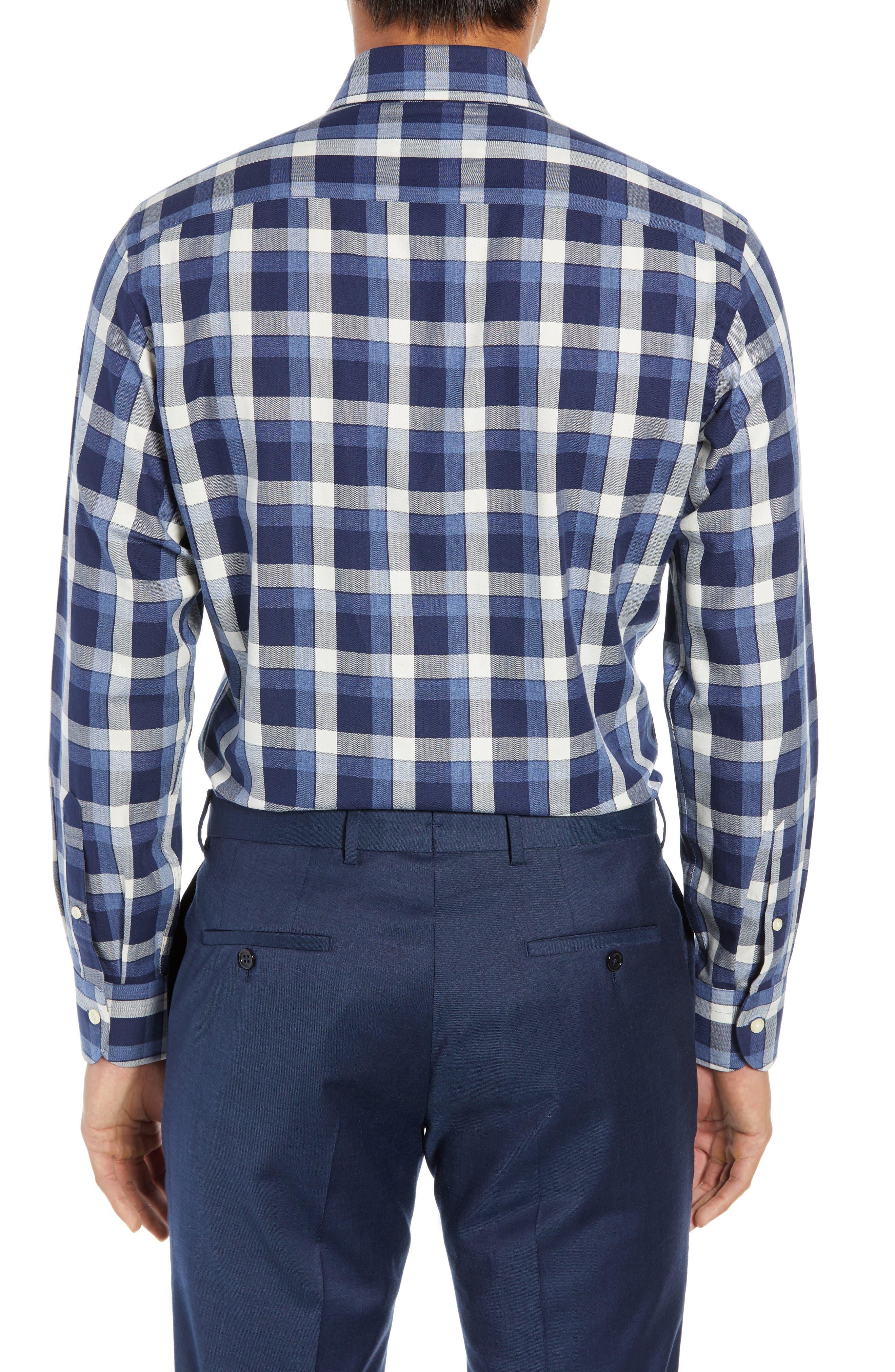 LEDBURY,                             The Dietz Slim Fit Plaid Dress Shirt,                             Alternate thumbnail 3, color,                             410
