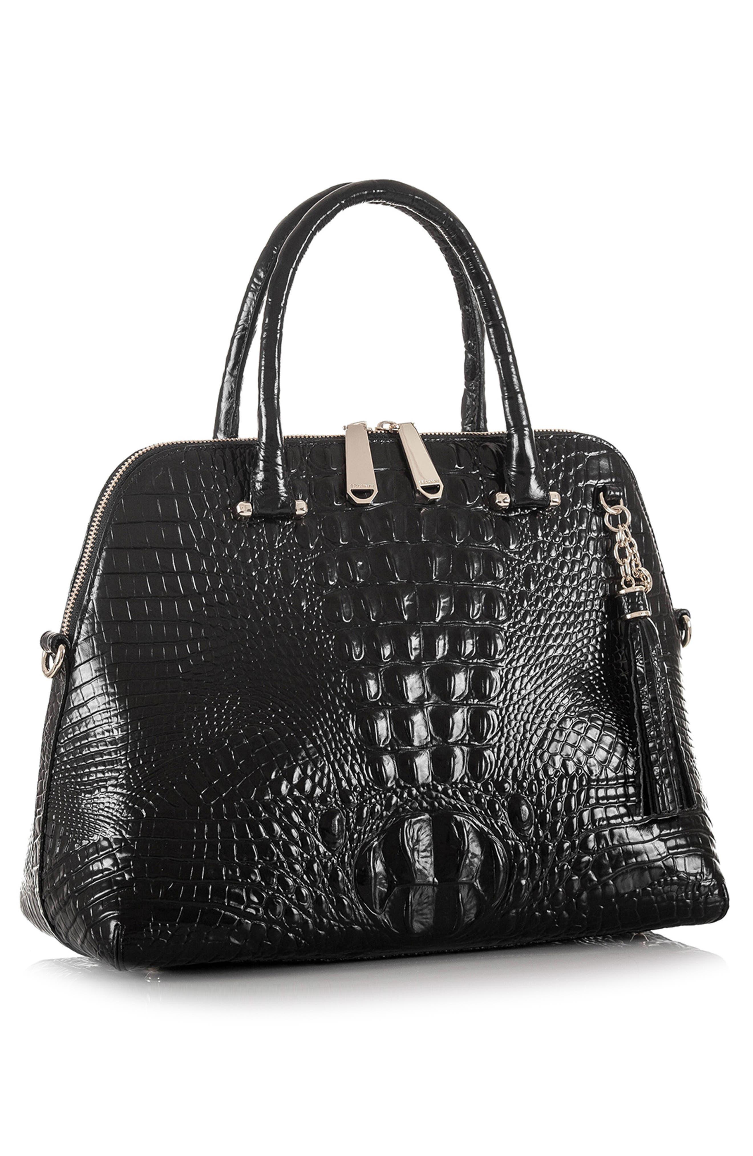Melbourne – Sydney Croc Embossed Leather Satchel,                             Alternate thumbnail 8, color,                             BLACK