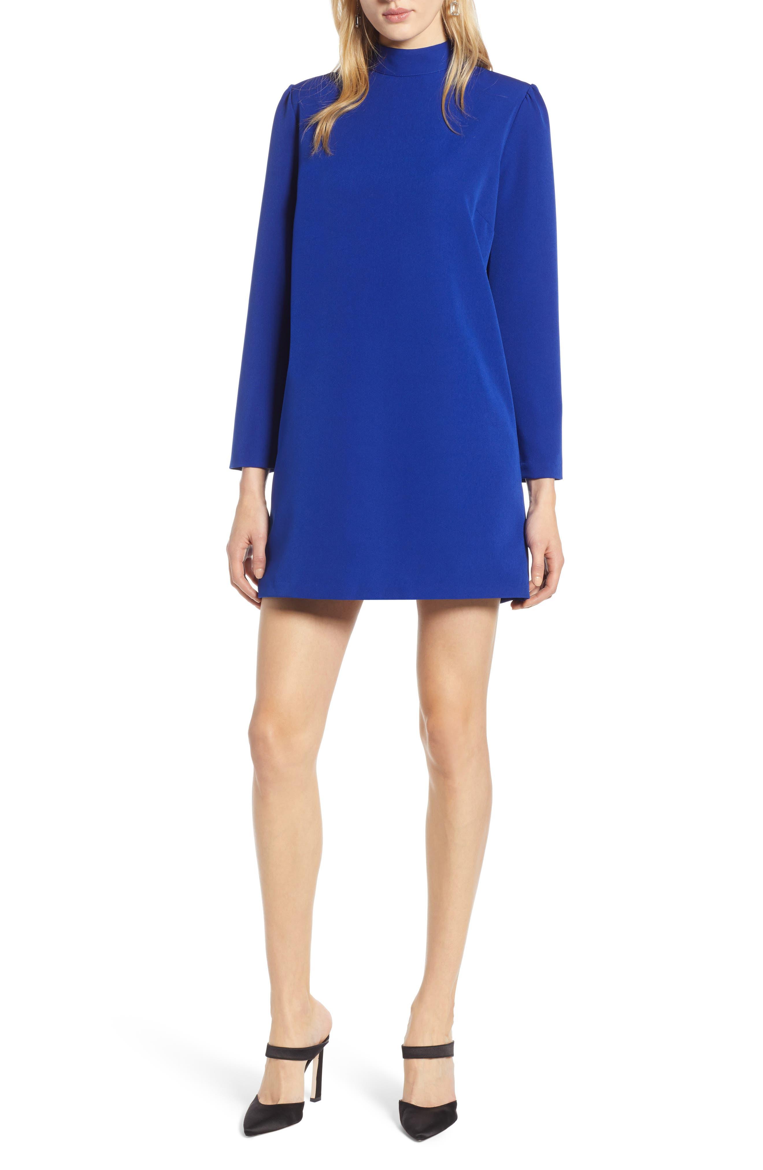 Halogen Bow Back Ponte Shift Dress, Blue