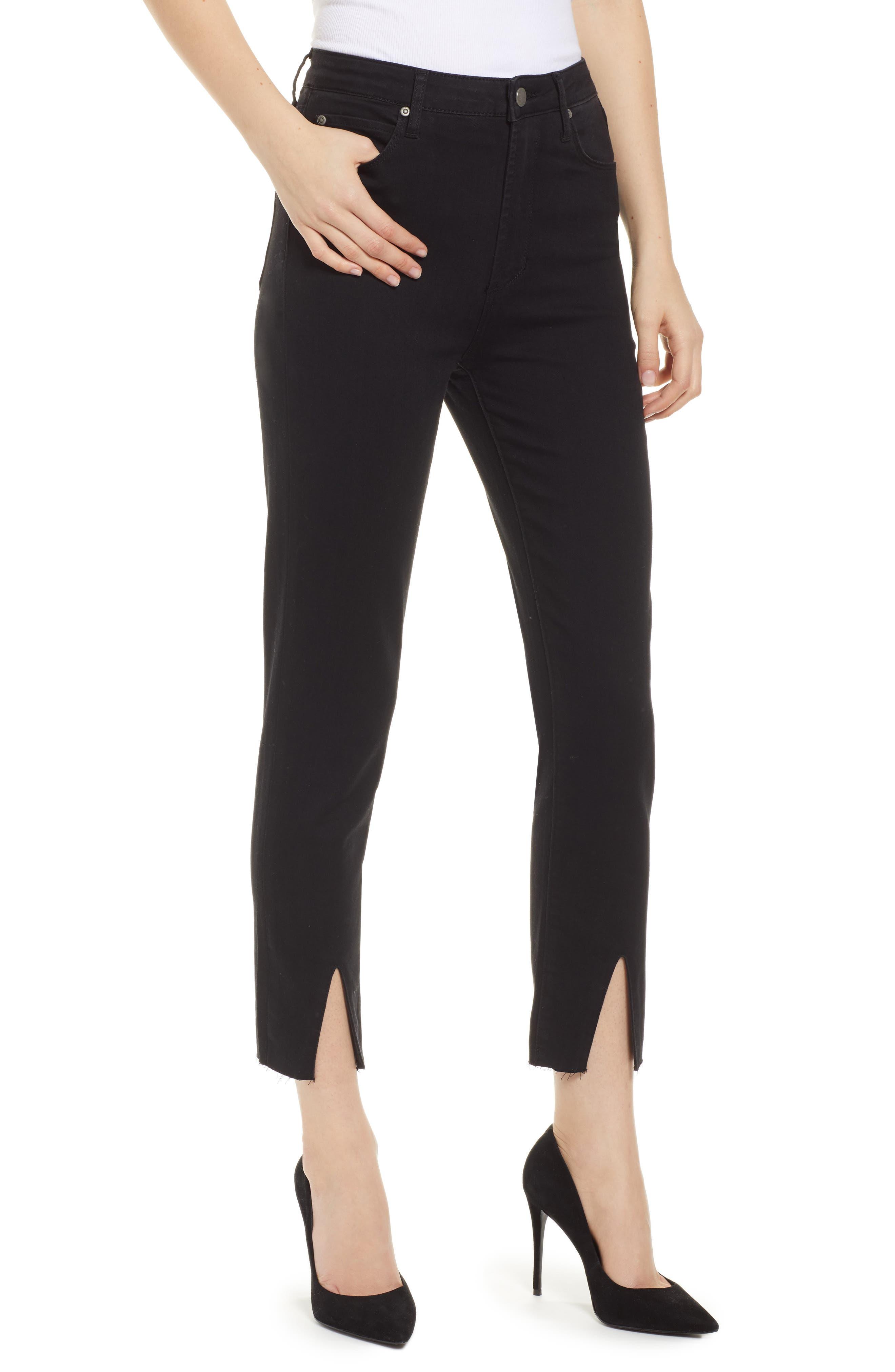 LEITH High Waist Split Hem Skinny Jeans, Main, color, 001