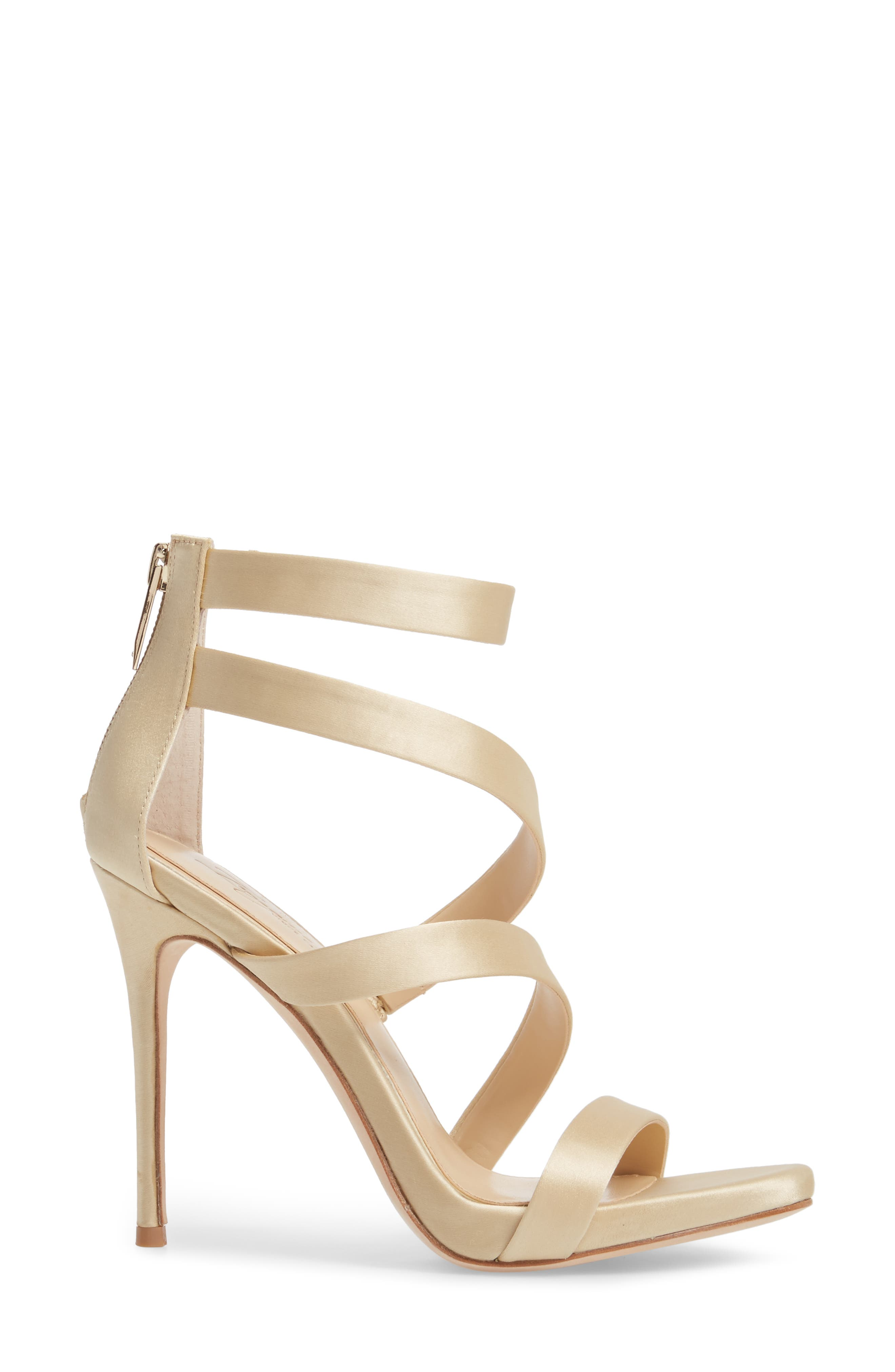 Imagine Vince Camuto Dalles Tall Strappy Sandal,                             Alternate thumbnail 3, color,                             SOFT GOLD SATIN