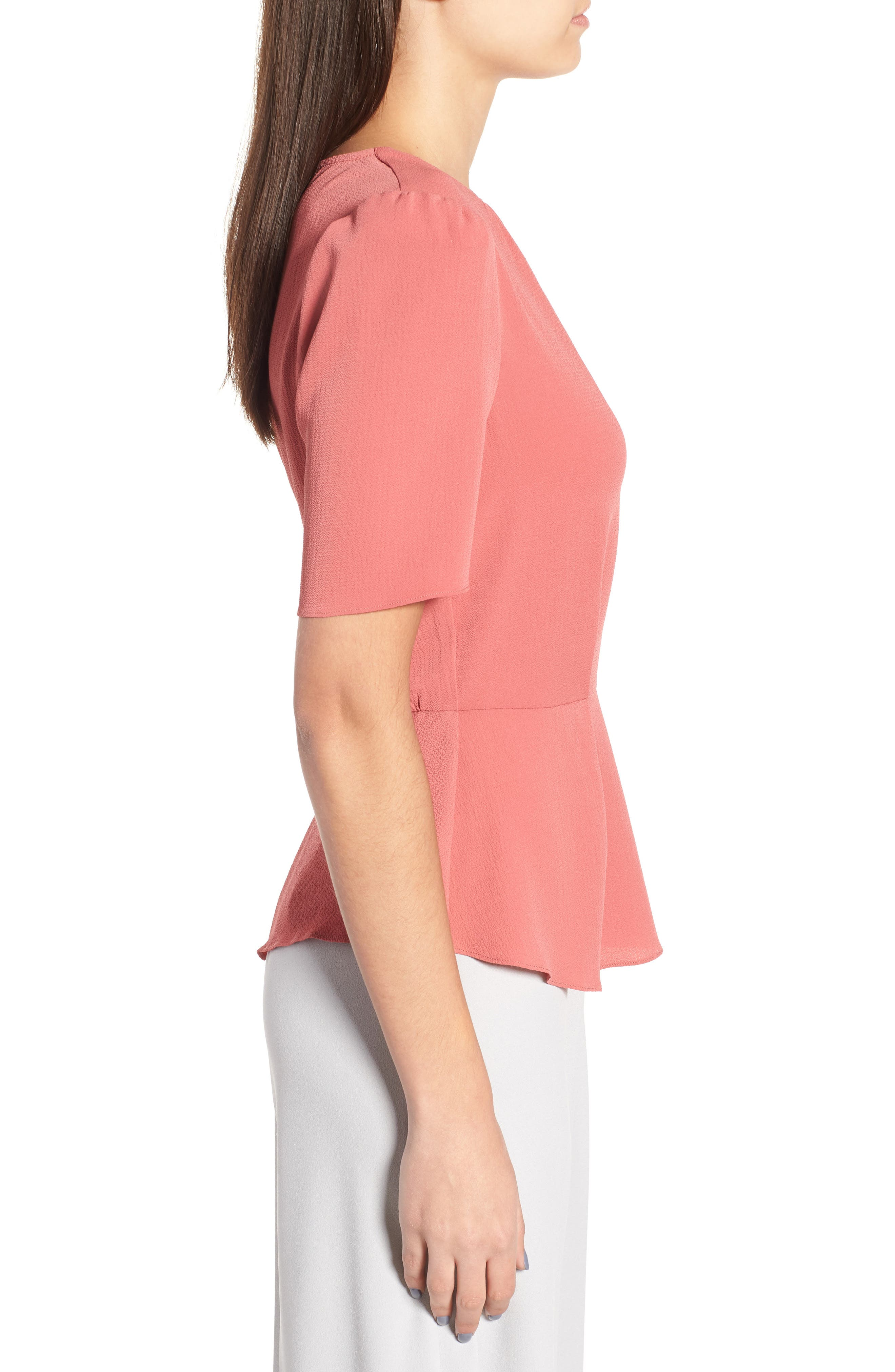 Short Sleeve Peplum Top,                             Alternate thumbnail 3, color,                             600