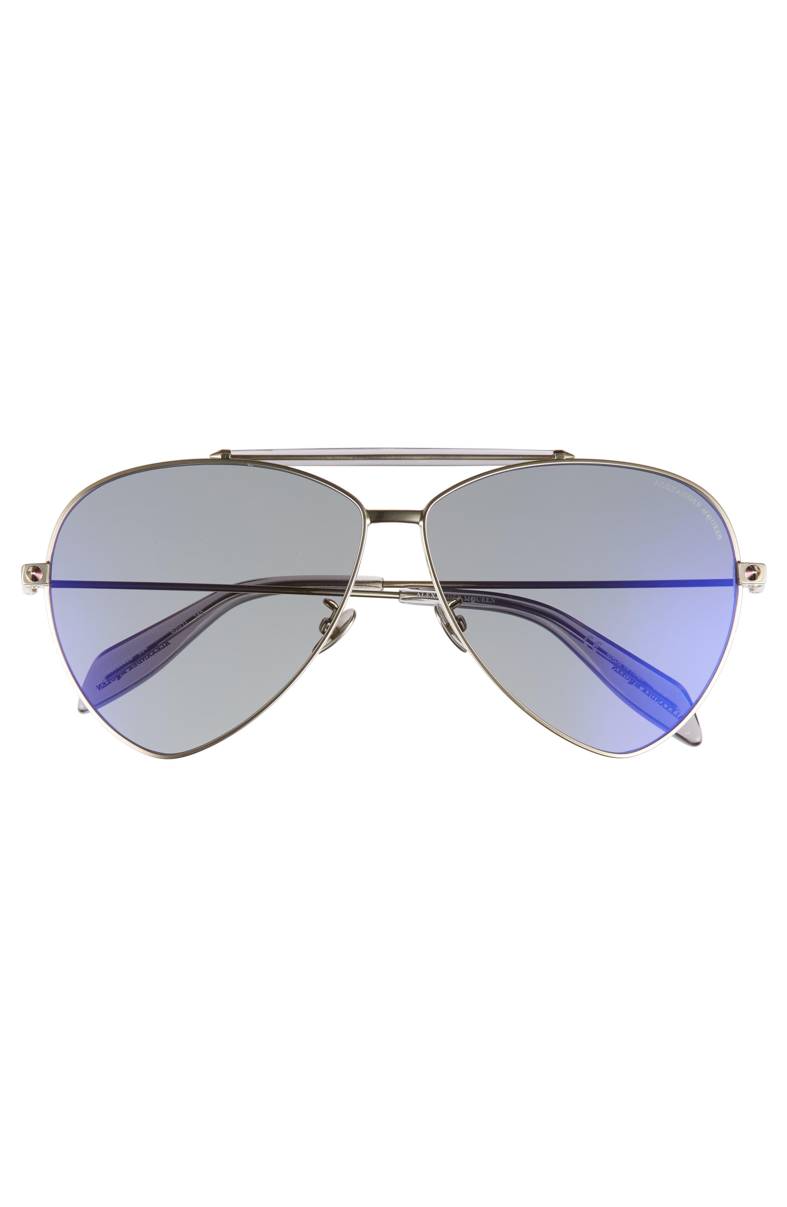63mm Oversize Aviator Sunglasses,                             Alternate thumbnail 6, color,